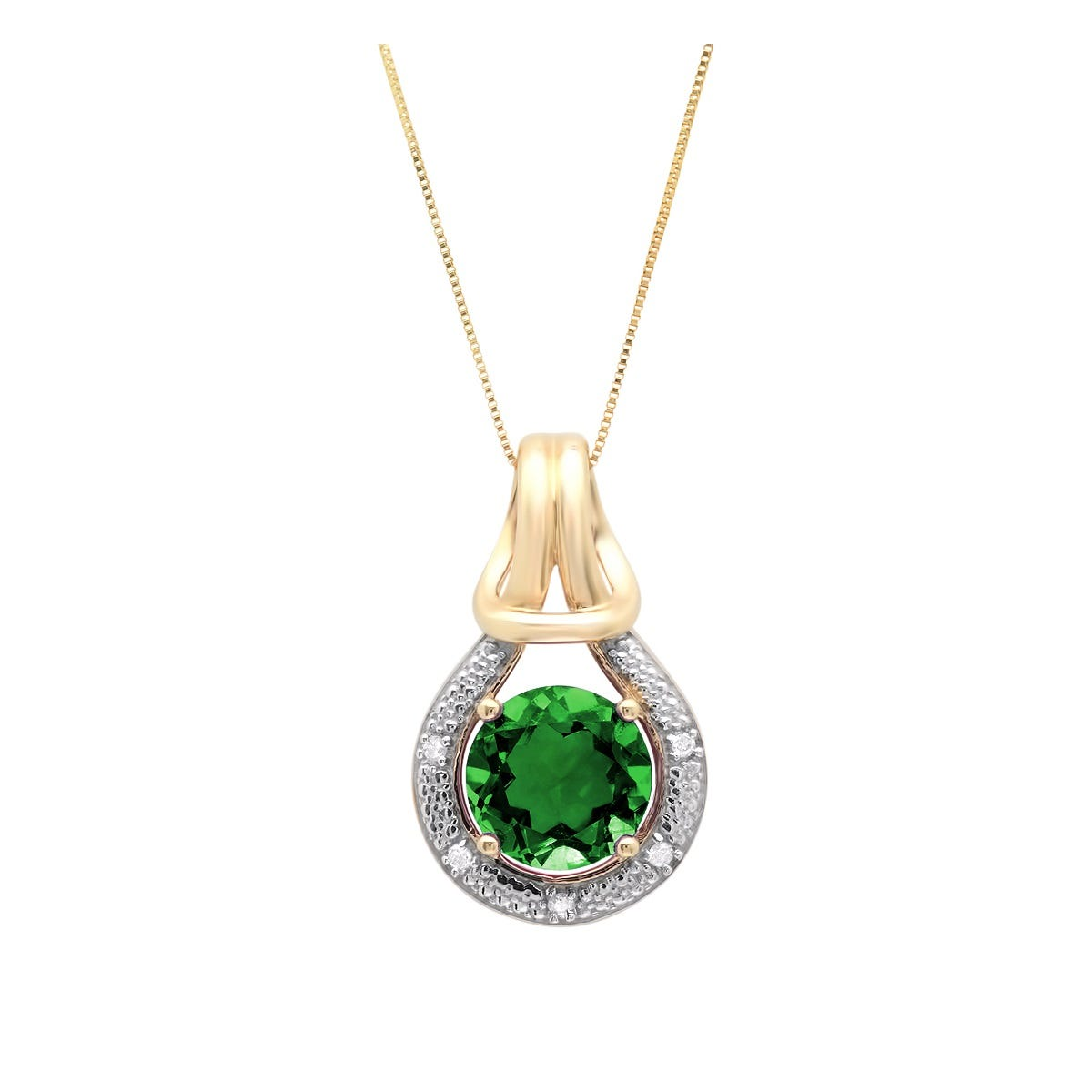 Created Emerald & Diamond Love Knot Pendant in 10k Yellow Gold