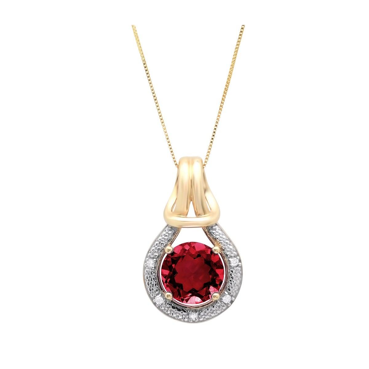 Beautiful 10K Karat Two Tone Gold Pendant Charm w Ruby Gemstones /& Diamonds