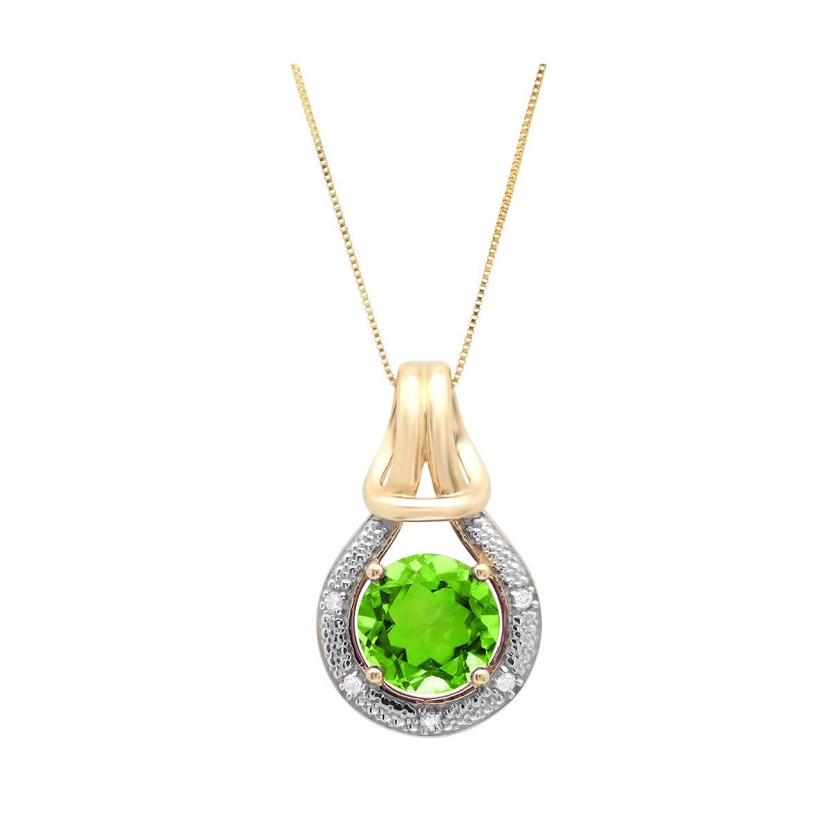 Created Peridot & Diamond Love Knot Pendant in 10k Yellow Gold