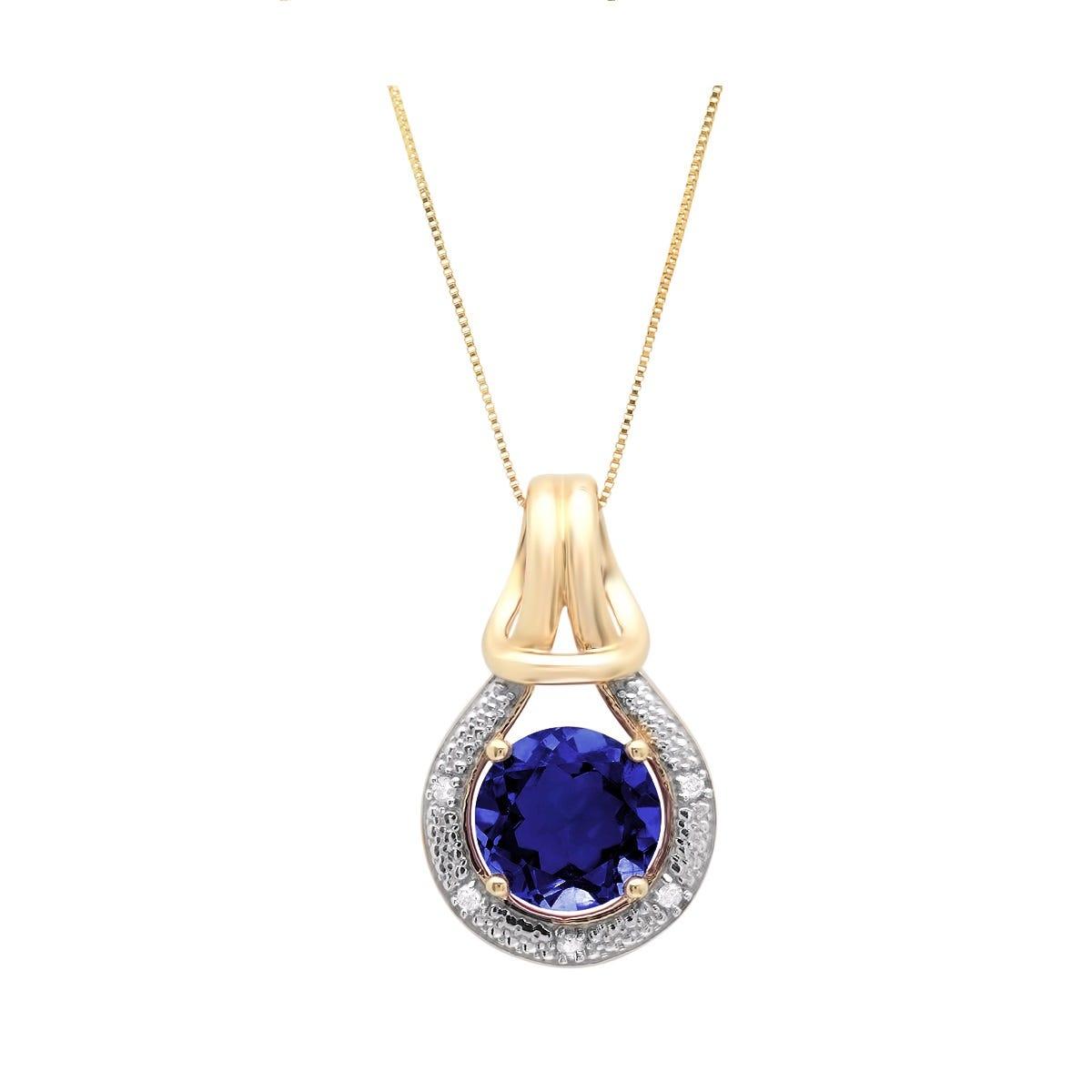 Created Blue Sapphire & Diamond Love Knot Pendant in 10k yellow Gold