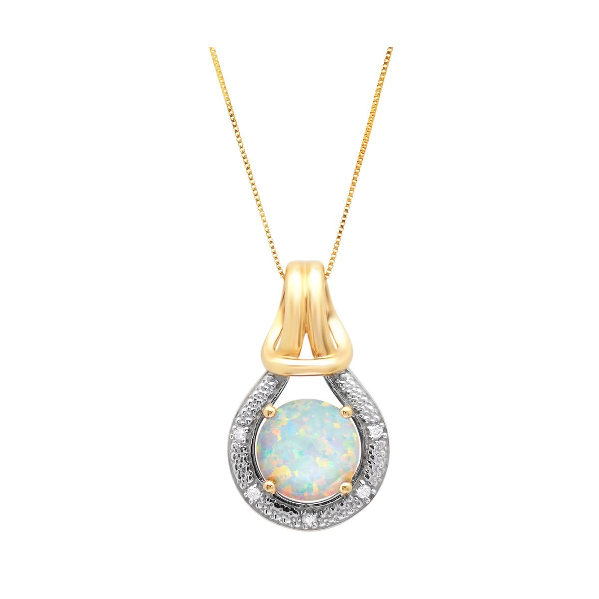 Created Opal & Diamond Love Knot Pendant in 10k yellow Gold
