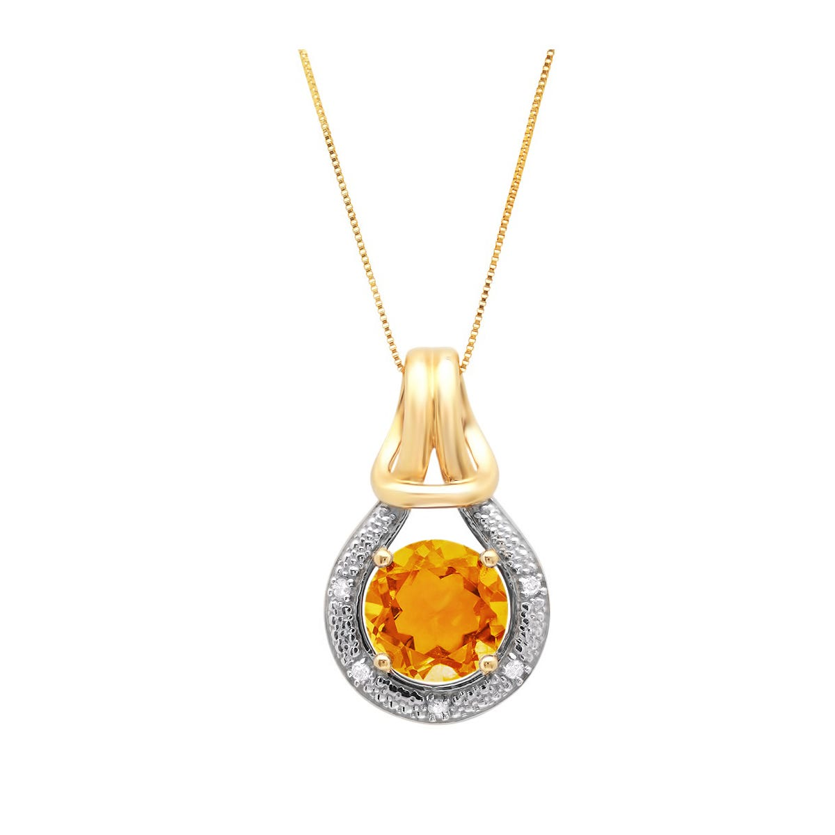 Citrine & Diamond Love Knot Pendant in 10k yellow Gold