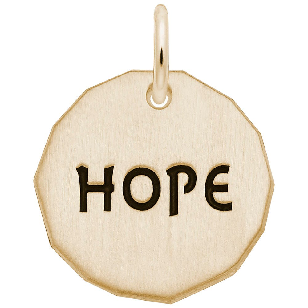 Hope Tag with Heart Charm in 10k Yellow Gold