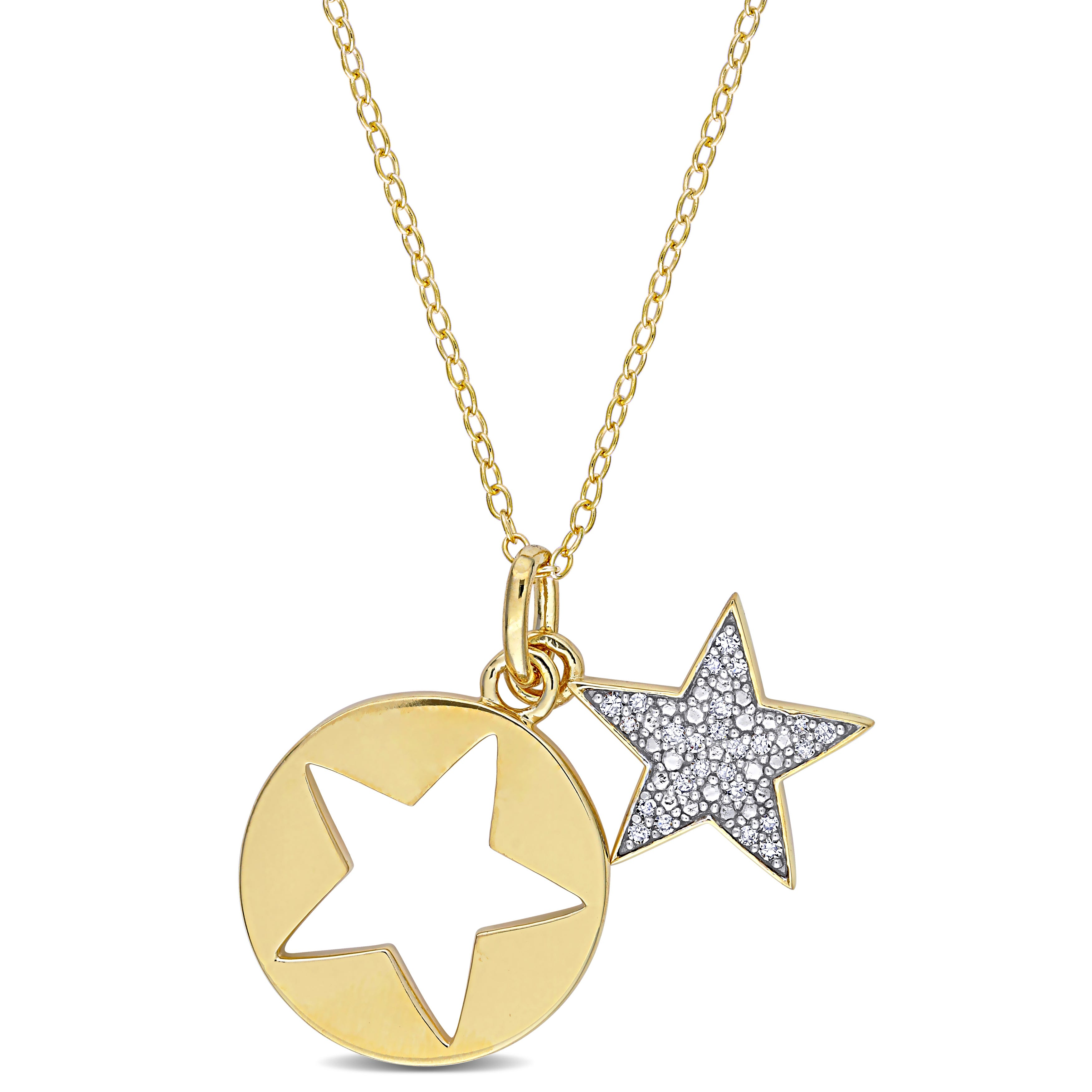 Diamond Double Star Cut-Out Pendant in Gold Plated Sterling Silver
