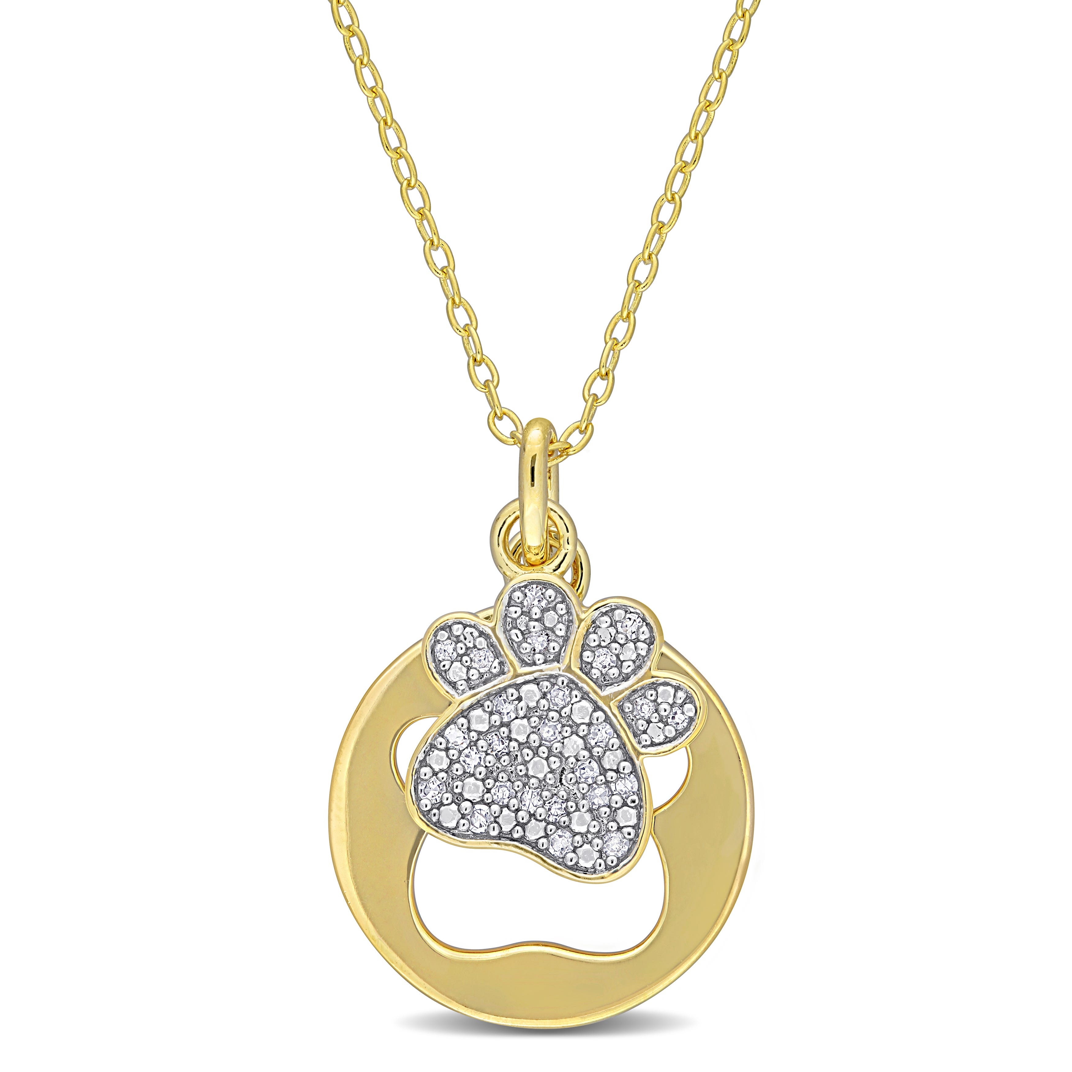 Diamond Double Paw Print Cut-Out Pendant in Gold Plated Sterling Silver