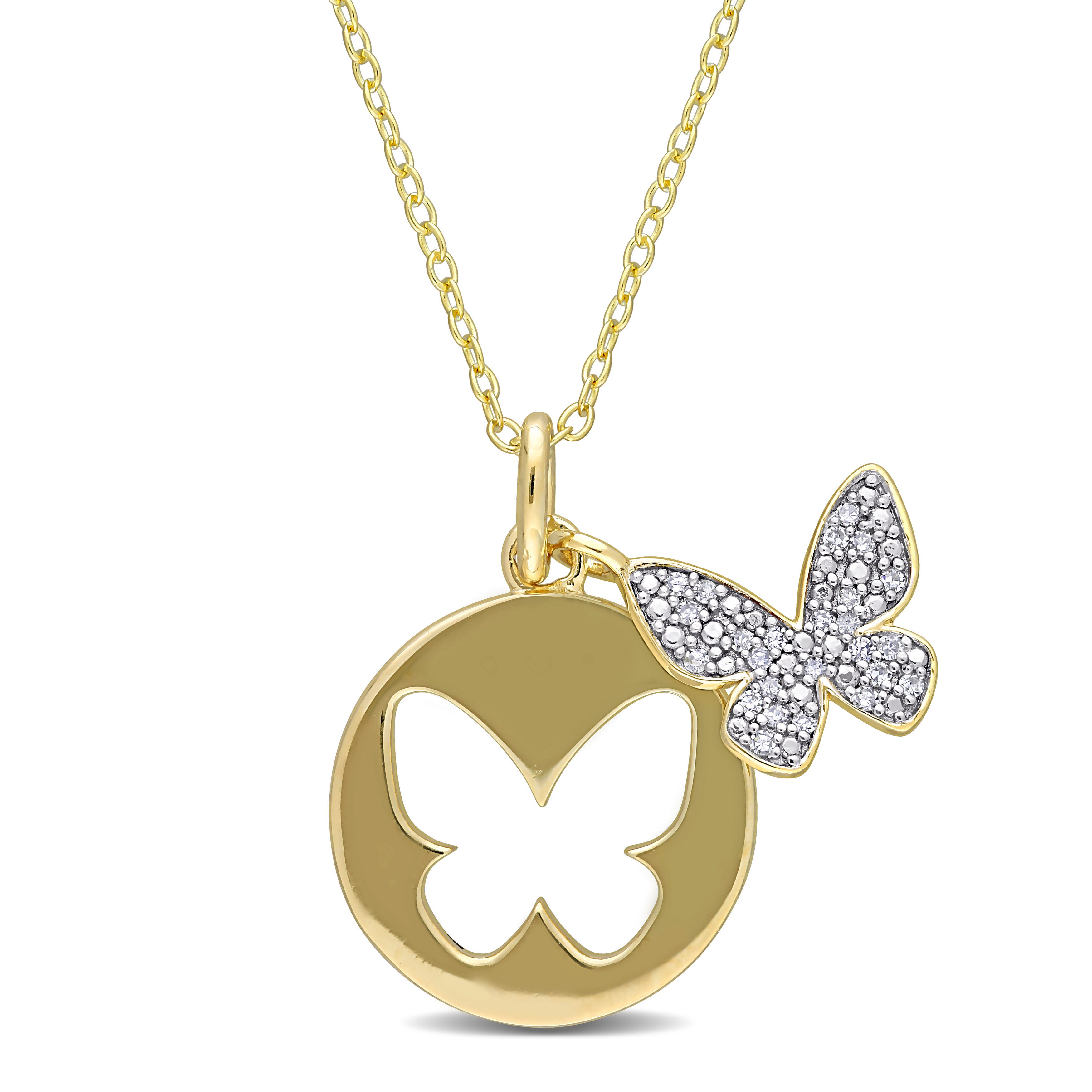 Ladies Sterling Silver with Yellow and White Lab Moissanite Gem Butterfly Necklace.