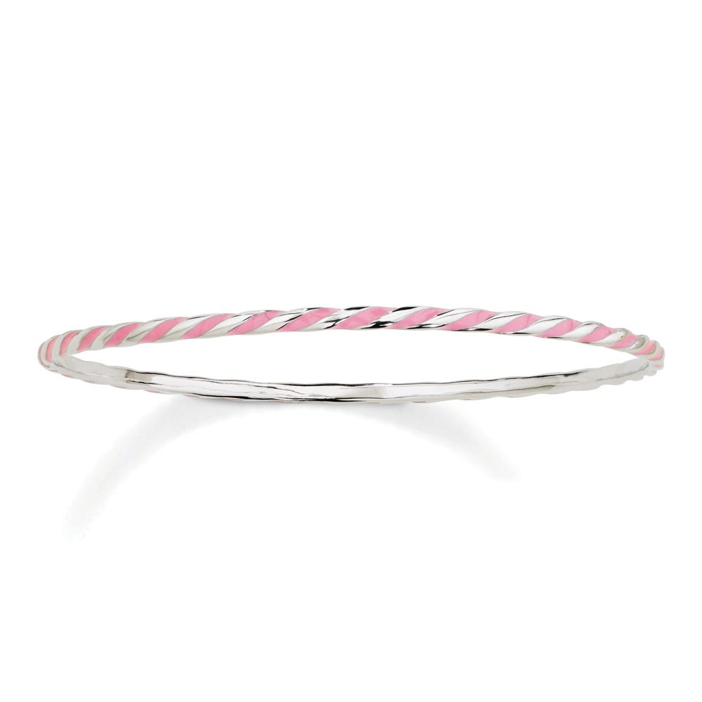 Twisted Pink Enamel Stackable Bangle in Sterling Silver