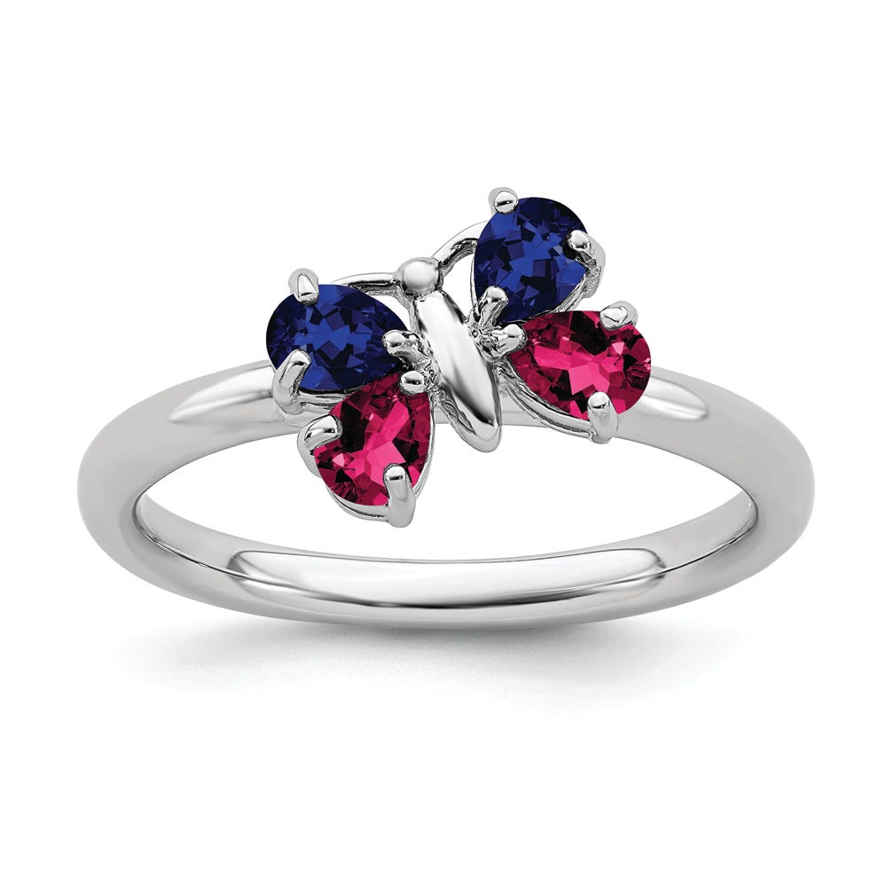 Created Ruby & Created Sapphire Stackable Butterfly Ring in Sterling Silver