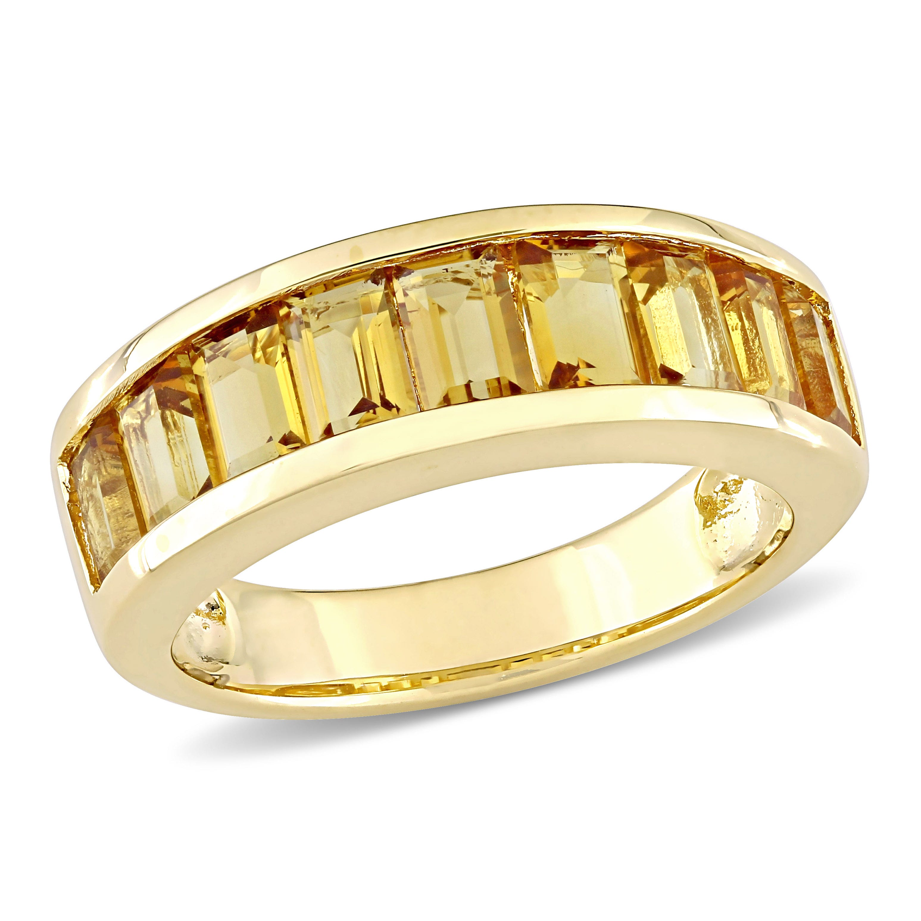 Citrine Semi-Eternity Anniversary Band in Sterling Silver