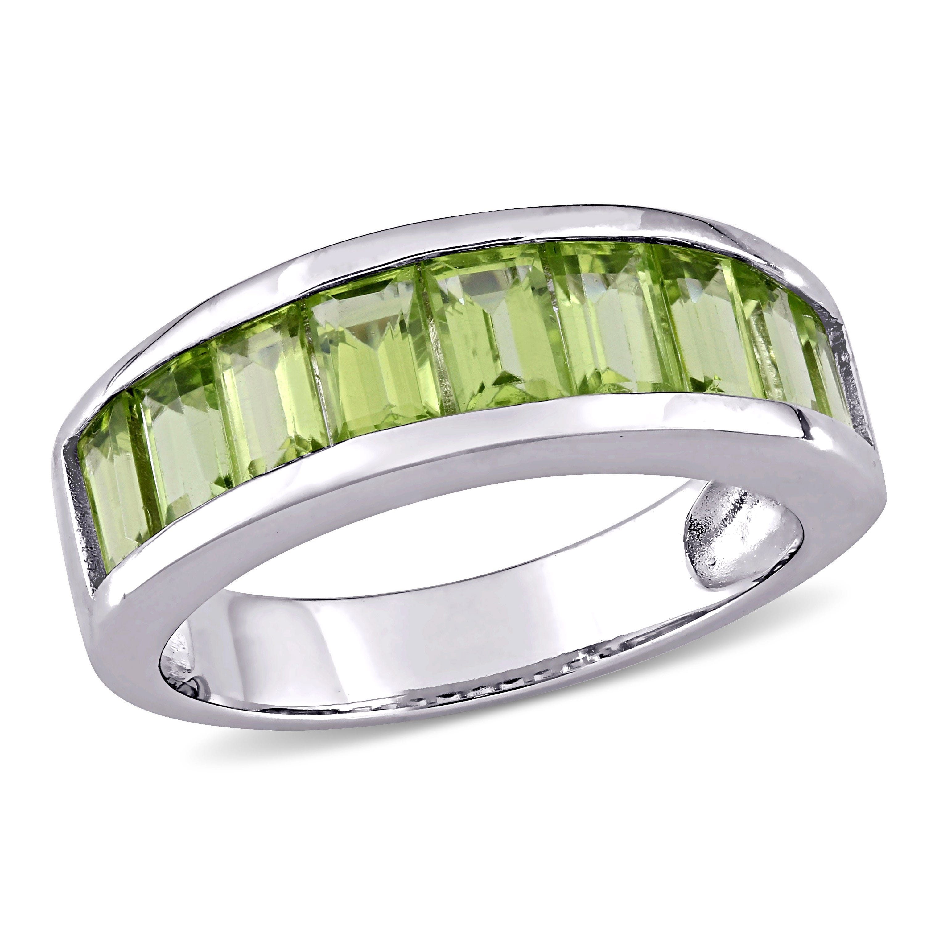 Peridot Semi-Eternity Anniversary Band in Sterling Silver