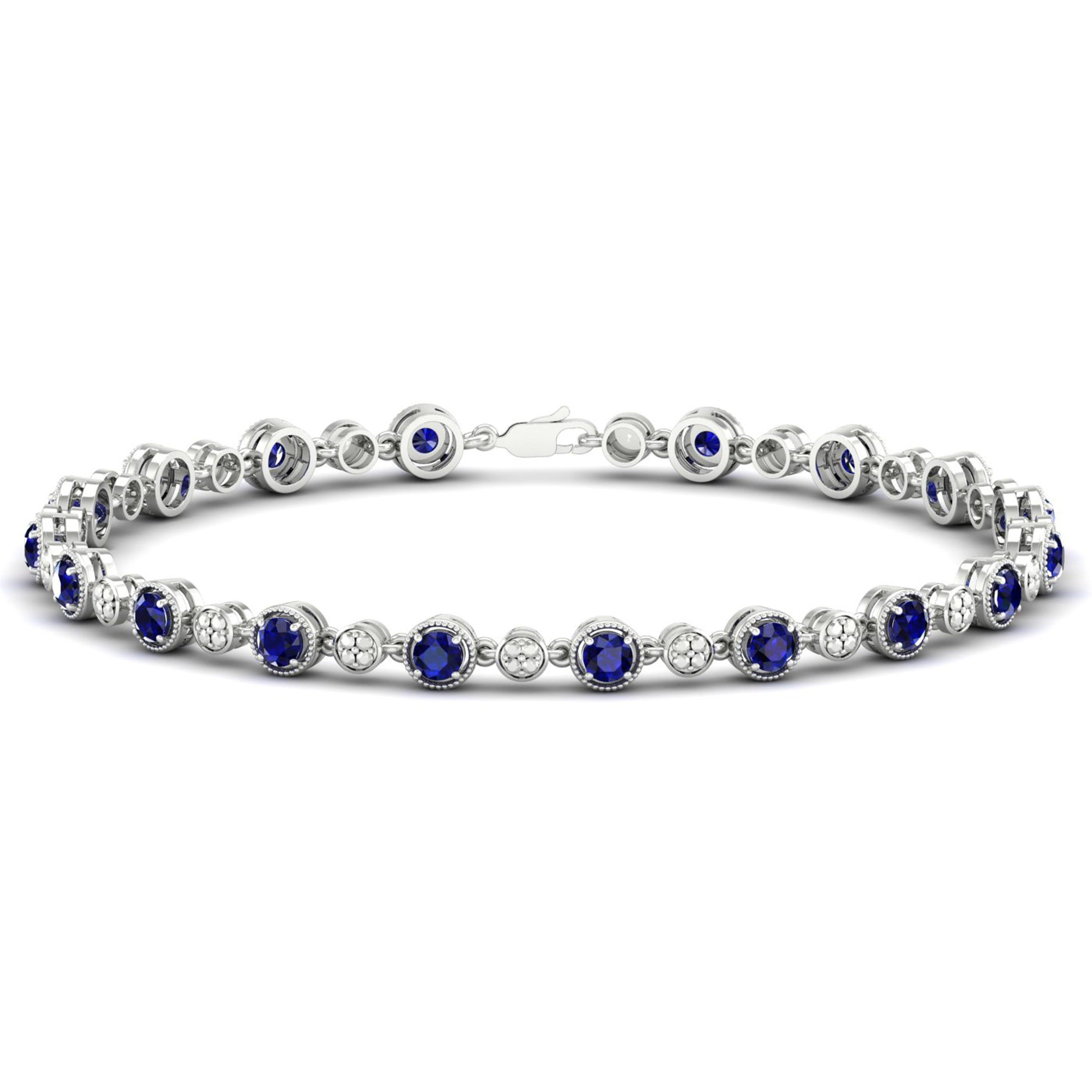 Created Ceylon Sapphire Tennis Bracelet in Sterling Silver