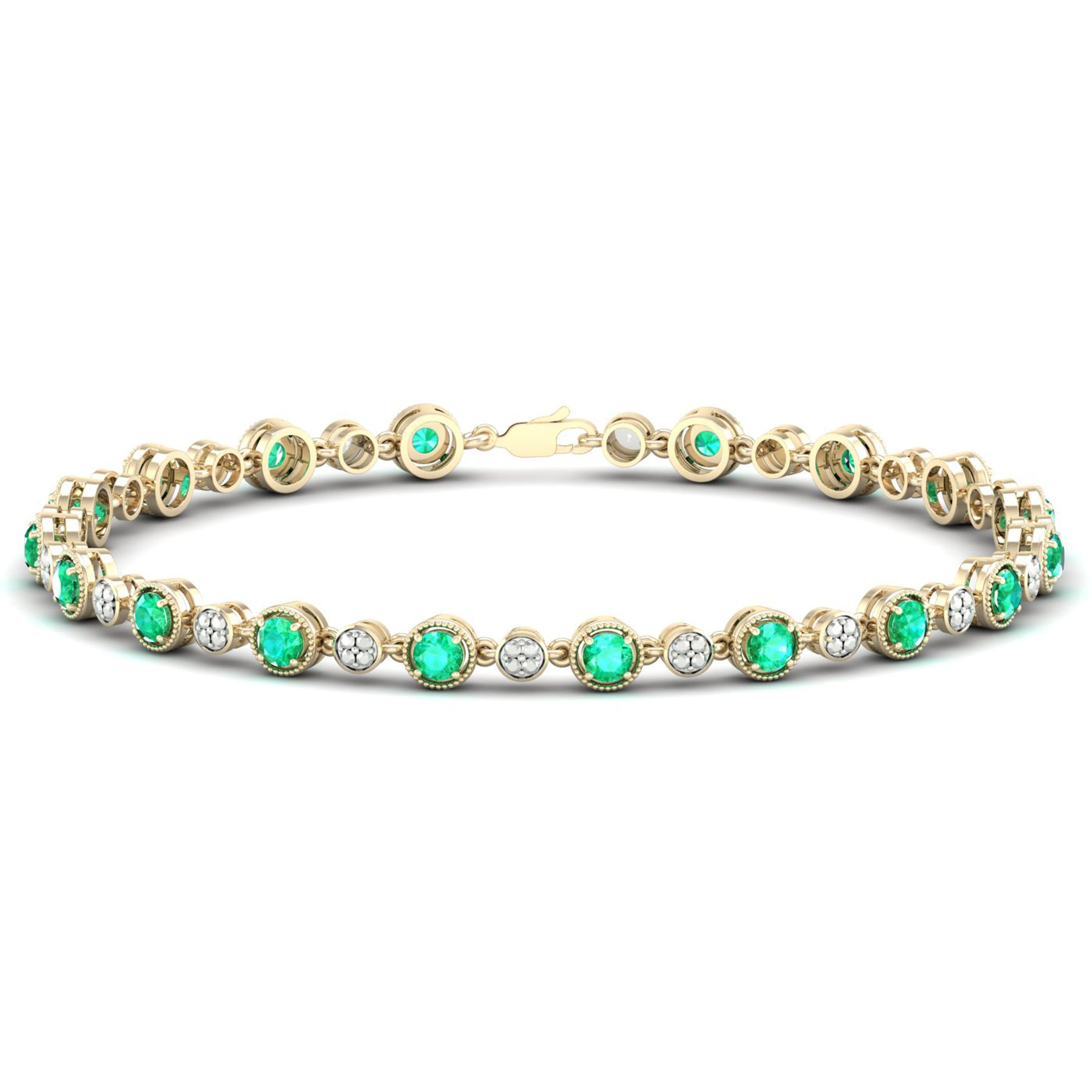 Created Emerald Tennis Bracelet in Sterling Silver