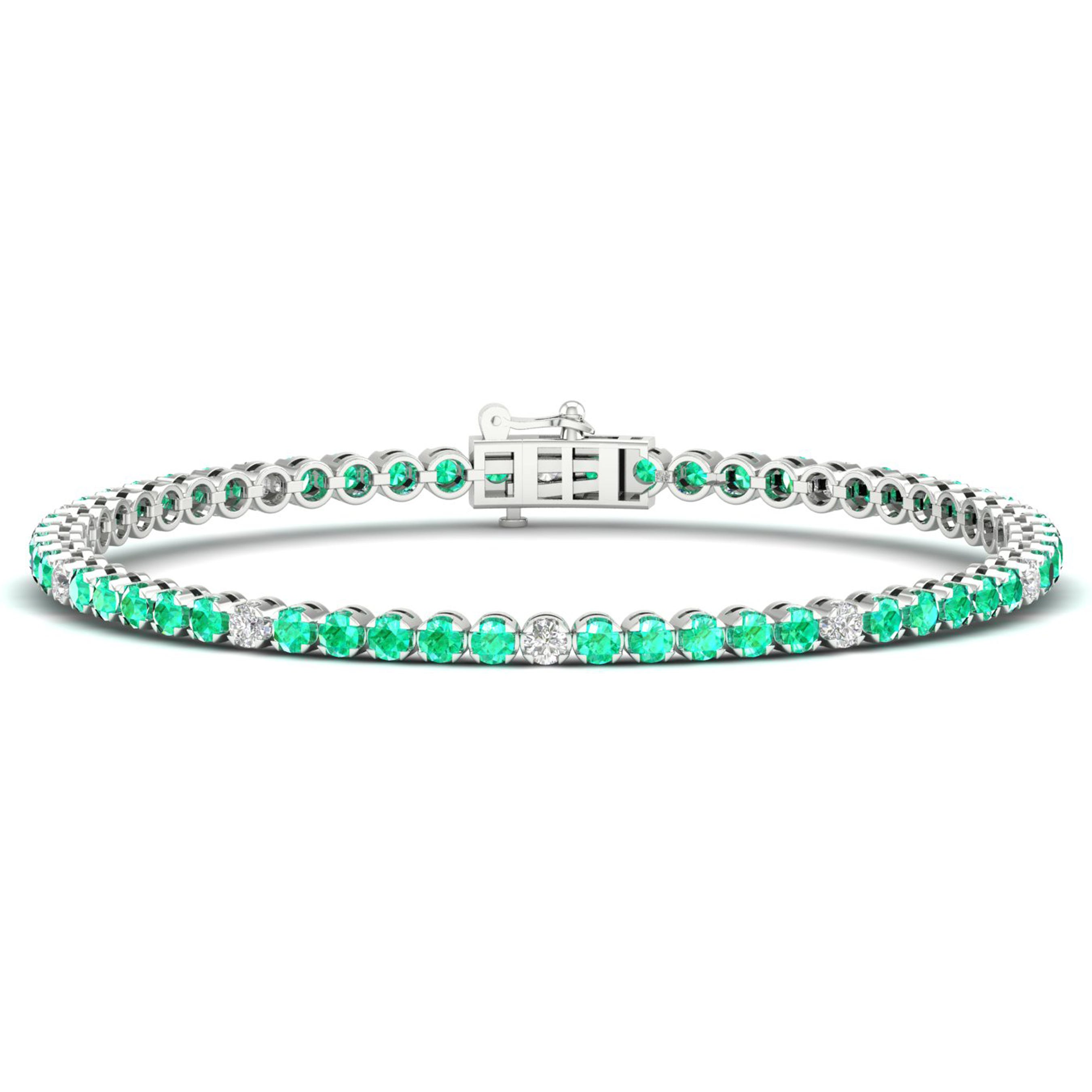 Emerald Tennis Bracelet in 10k White Gold