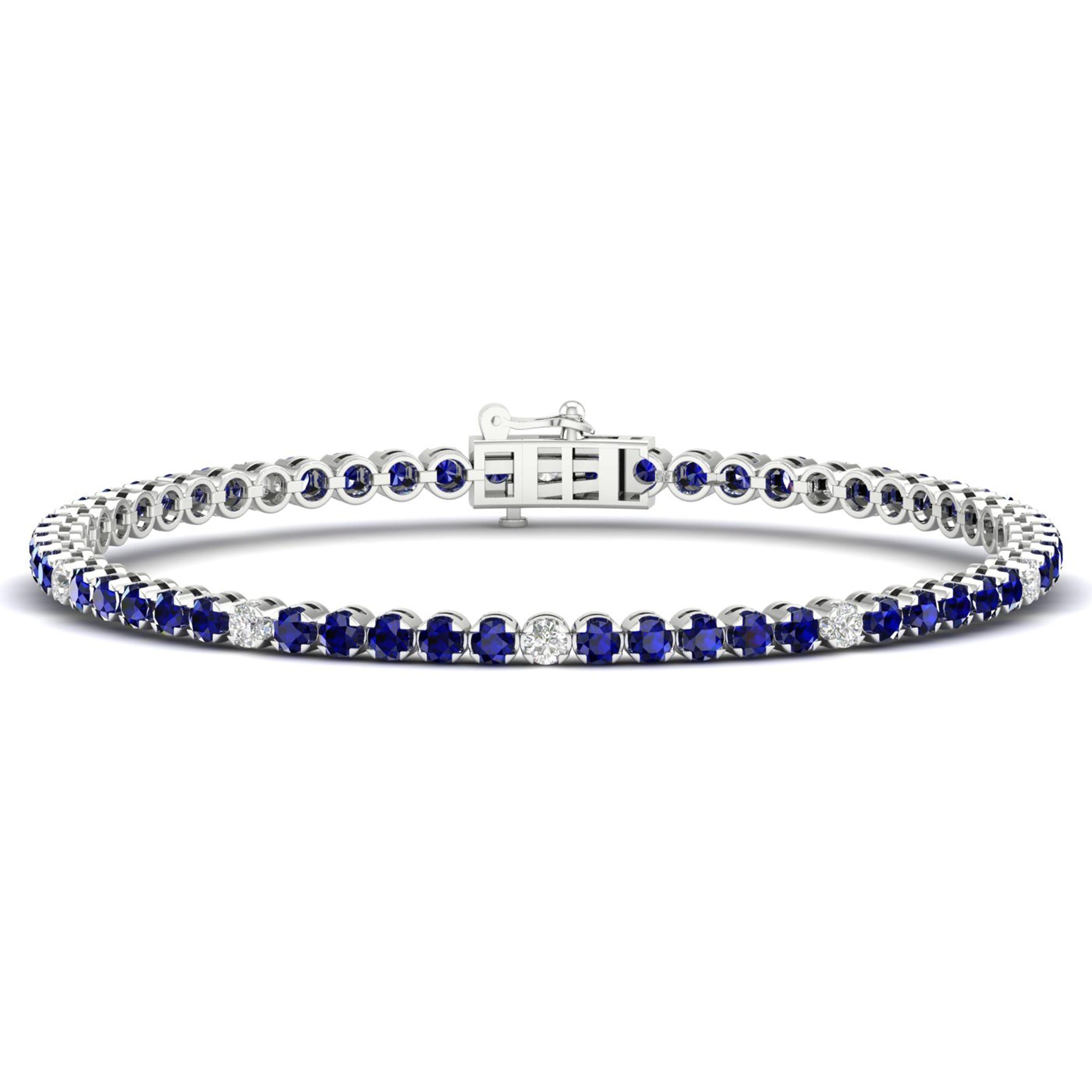 Blue Sapphire Tennis Bracelet in 10k White Gold