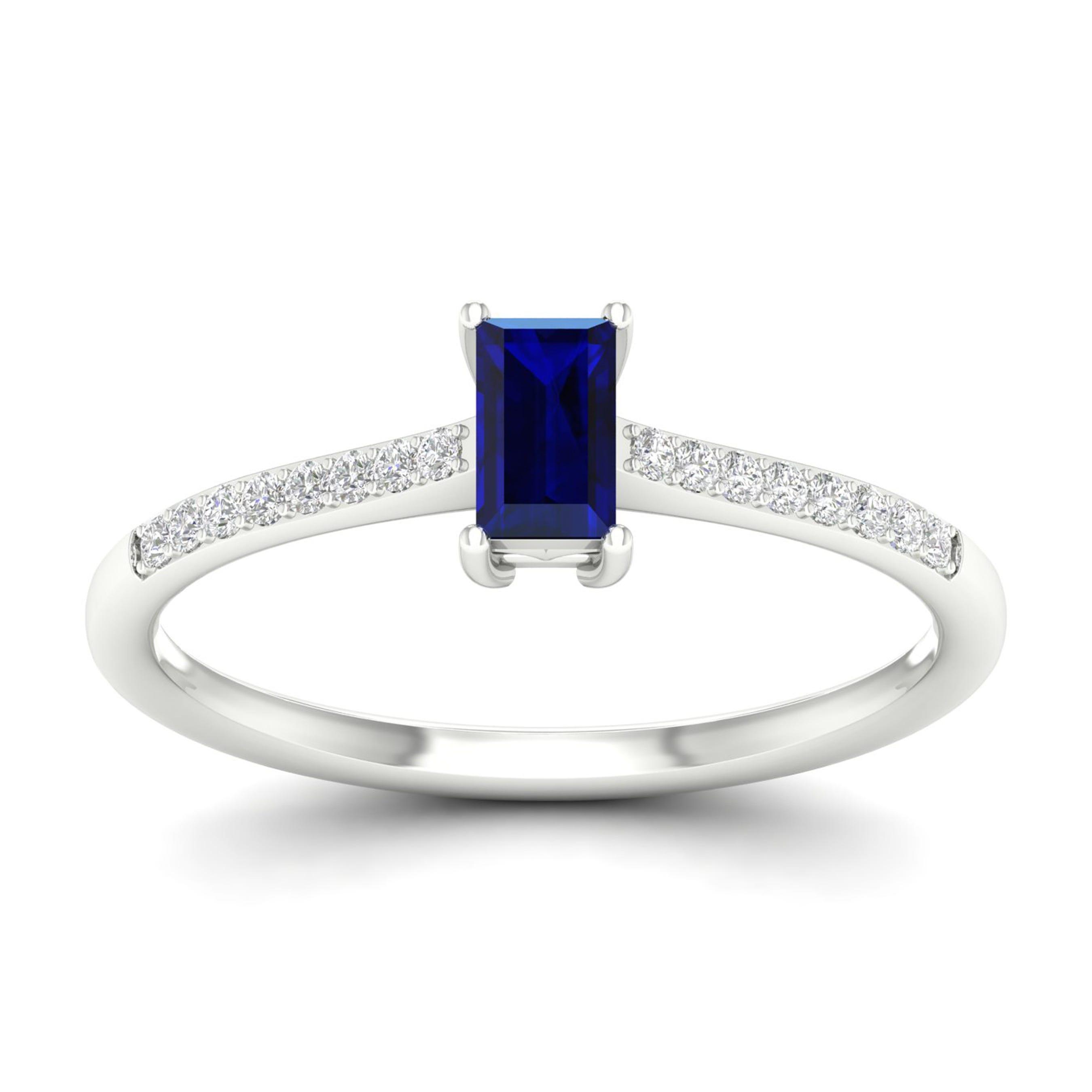 Emerald-Cut Blue Sapphire Classic Ring in 10k White Gold