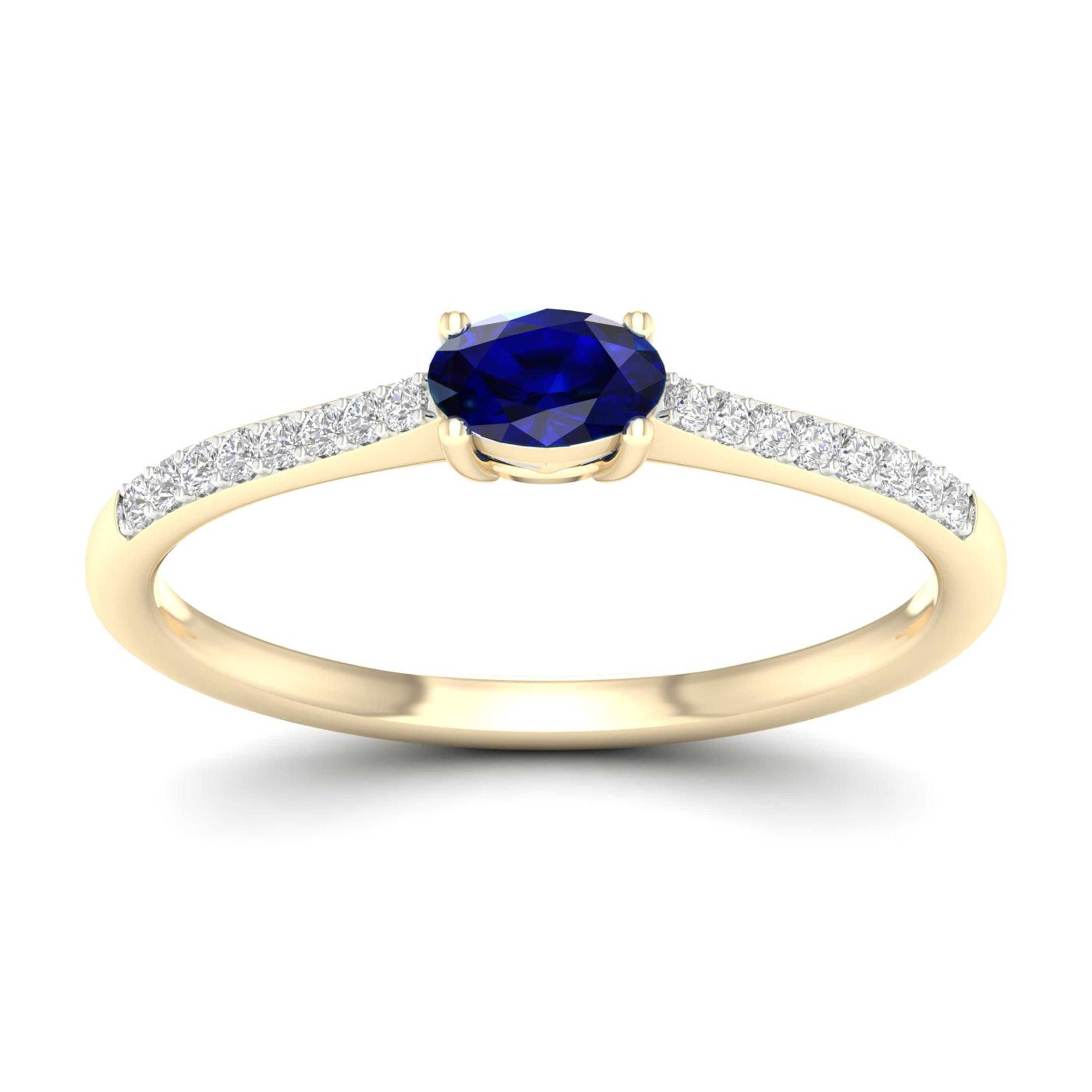 Oval Blue Sapphire Classic Ring in 10k Yellow Gold