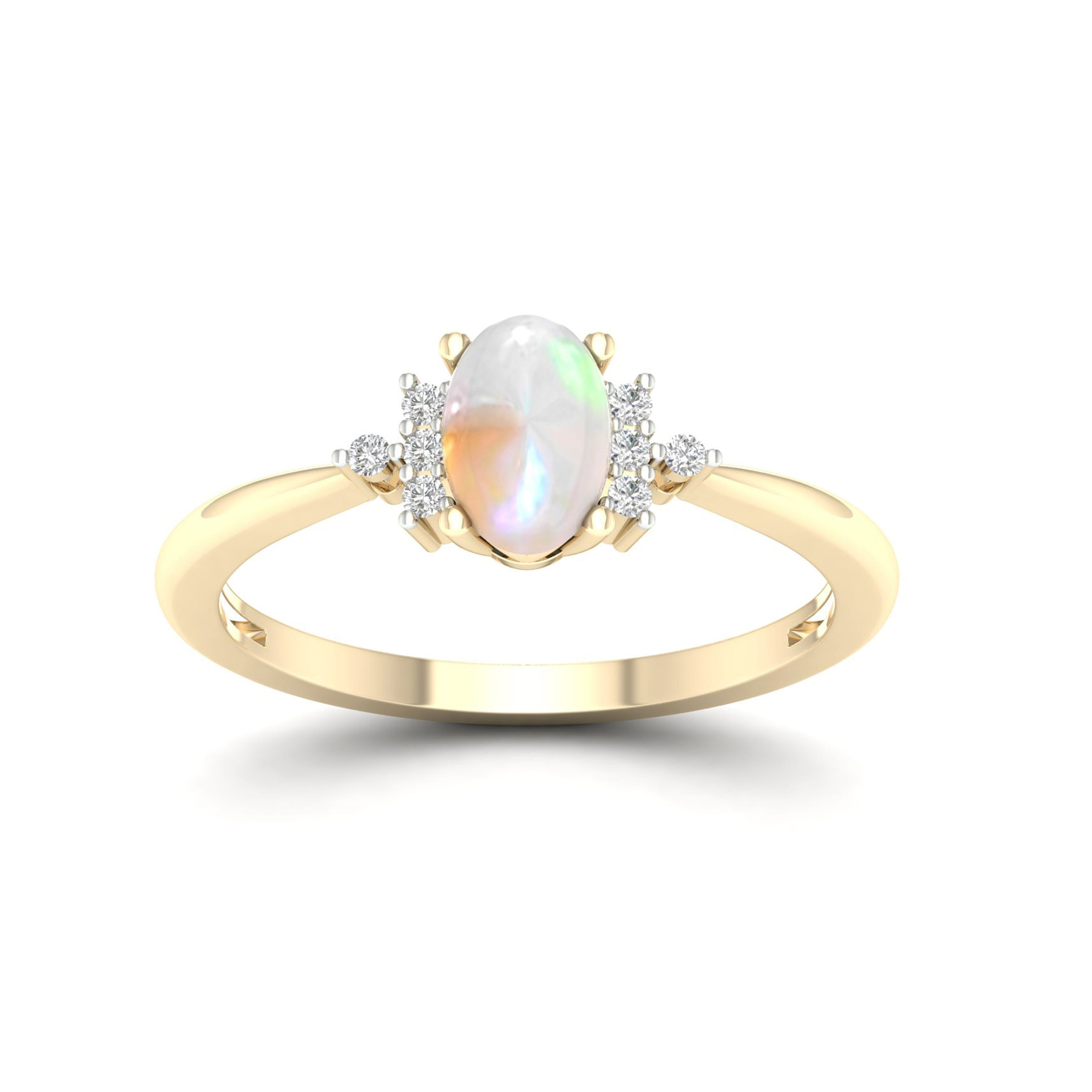 Oval Ethiopian Opal Classic Ring in 10k Yellow Gold