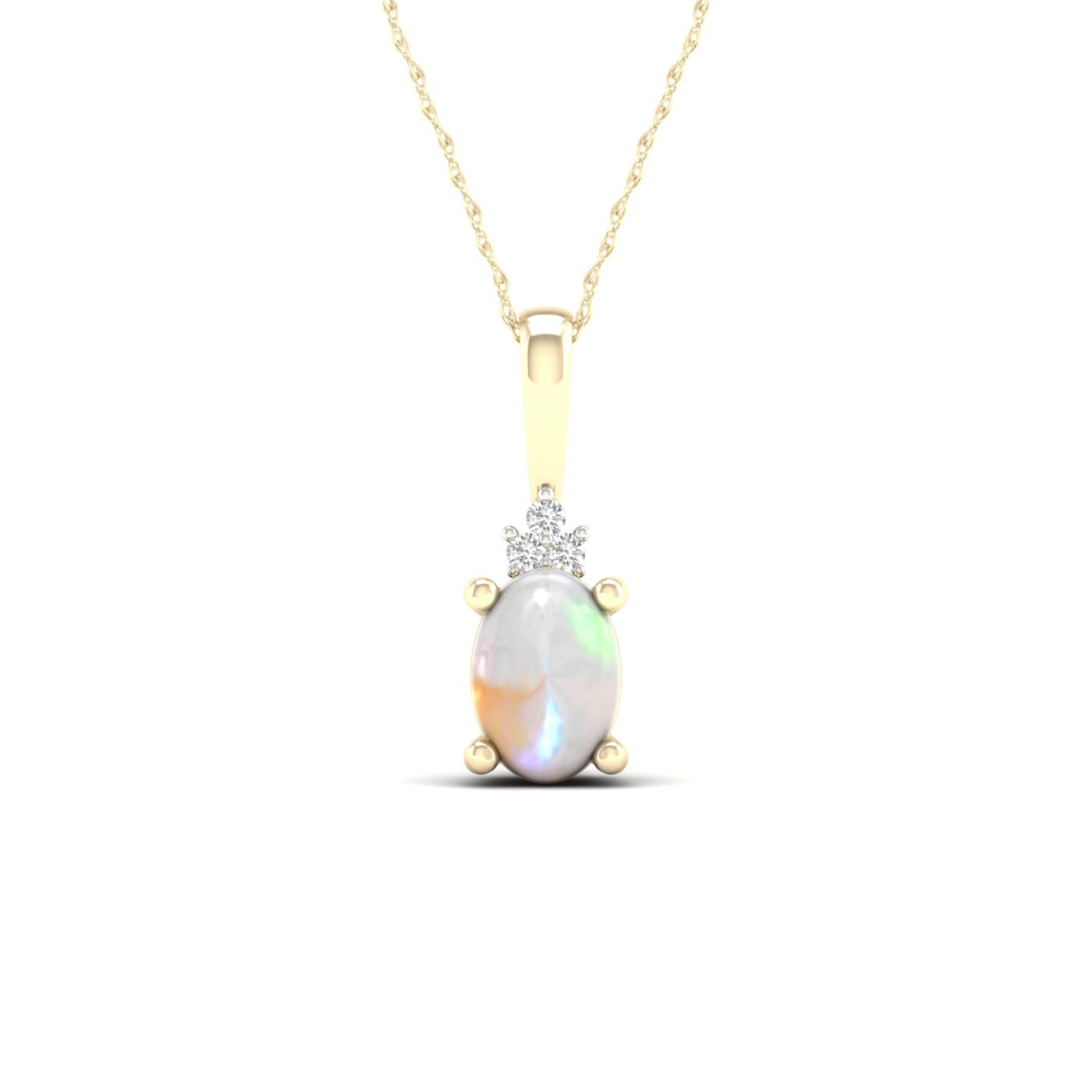 Oval Ethiopian Opal Solitaire Pendant in 10k Yellow Gold