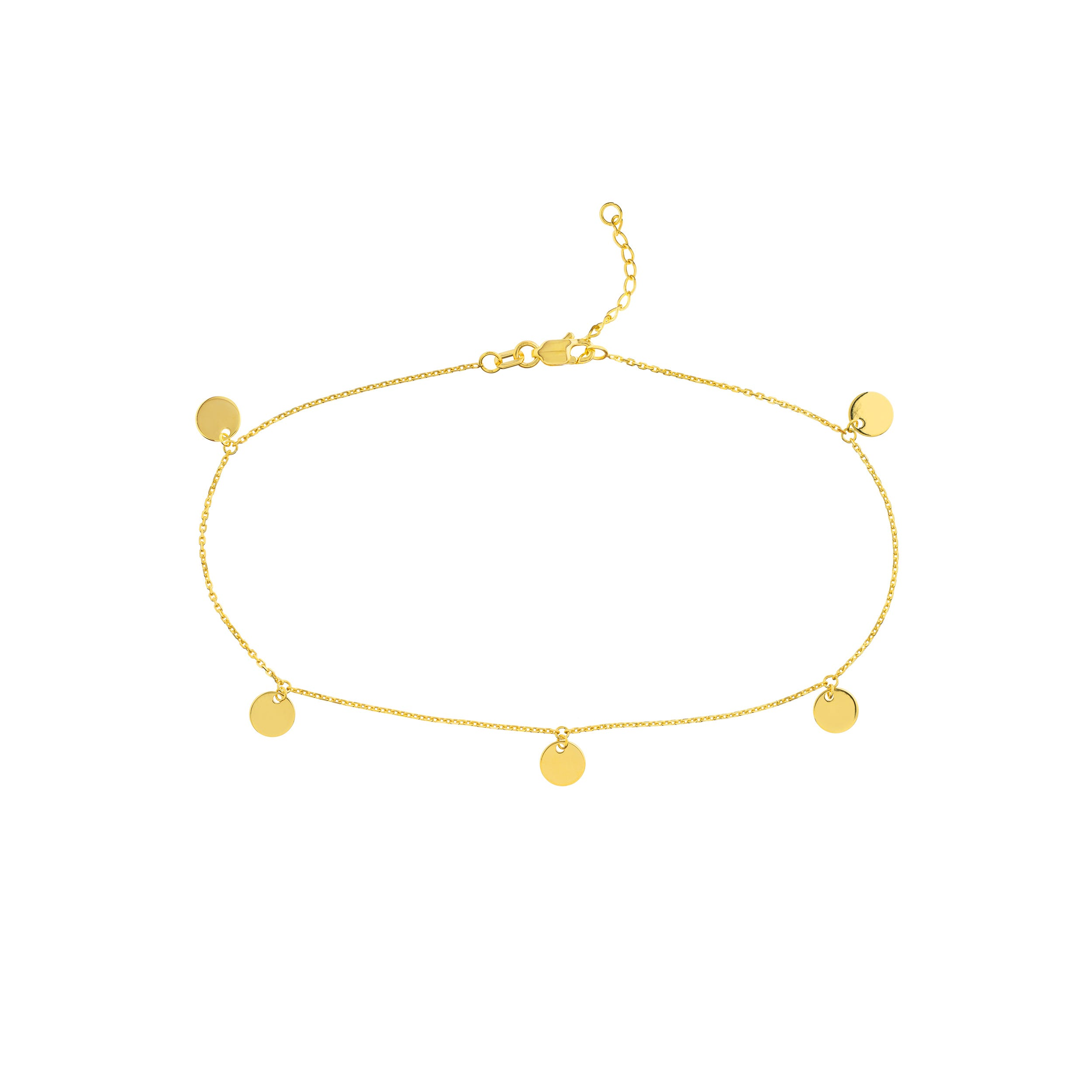 Dangle Mini Disc Anklet in 14k Yellow Gold