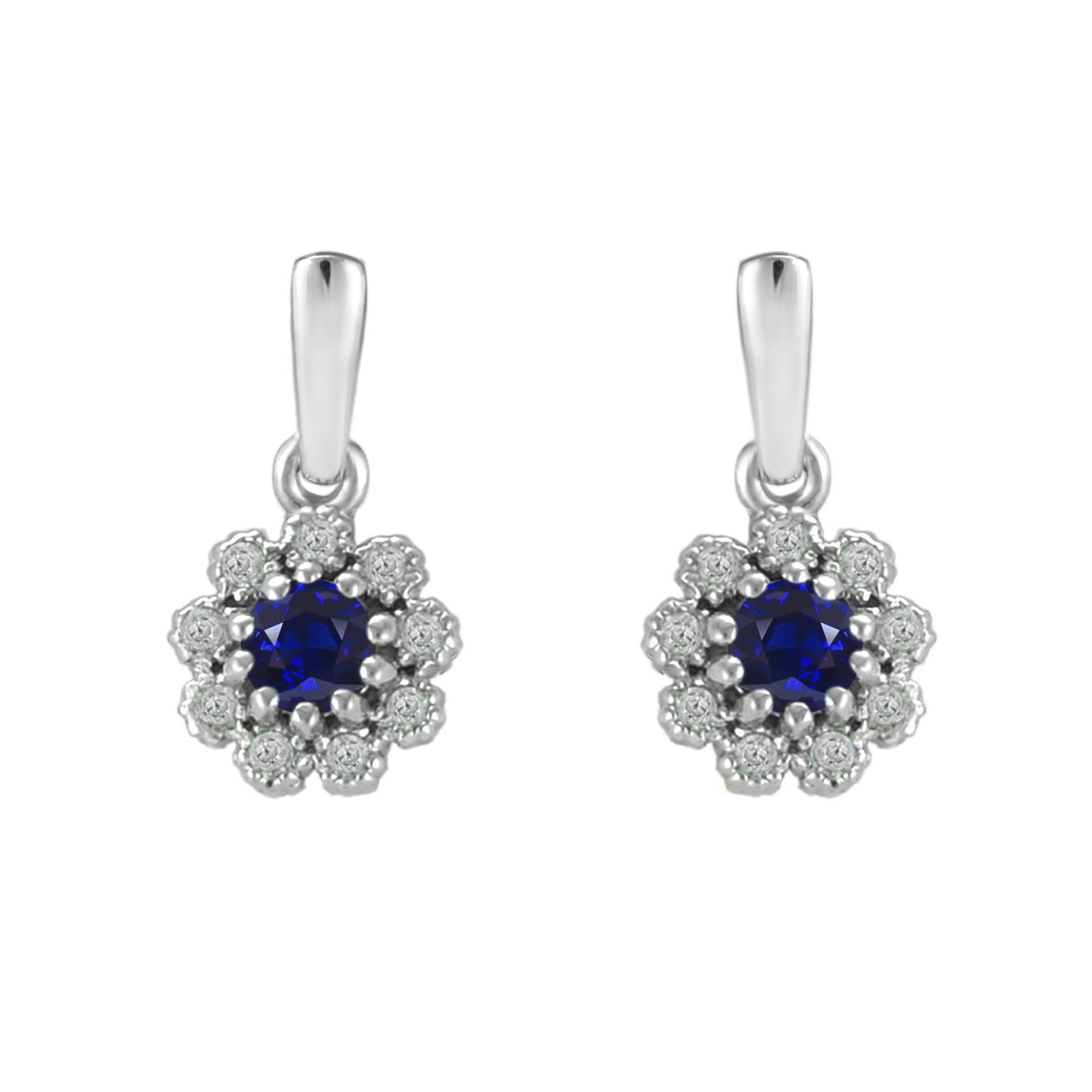 Sapphire & Diamond Flower Dangle Earrings in 10k White Gold