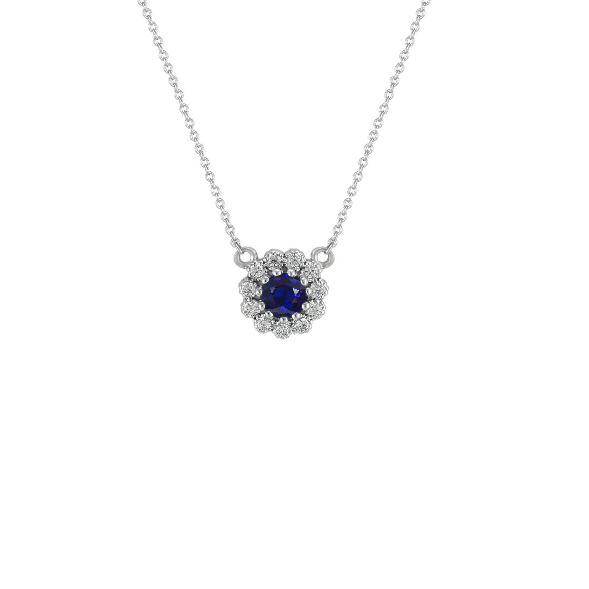 Sapphire & Diamond Flower Pendant in 10k White Gold