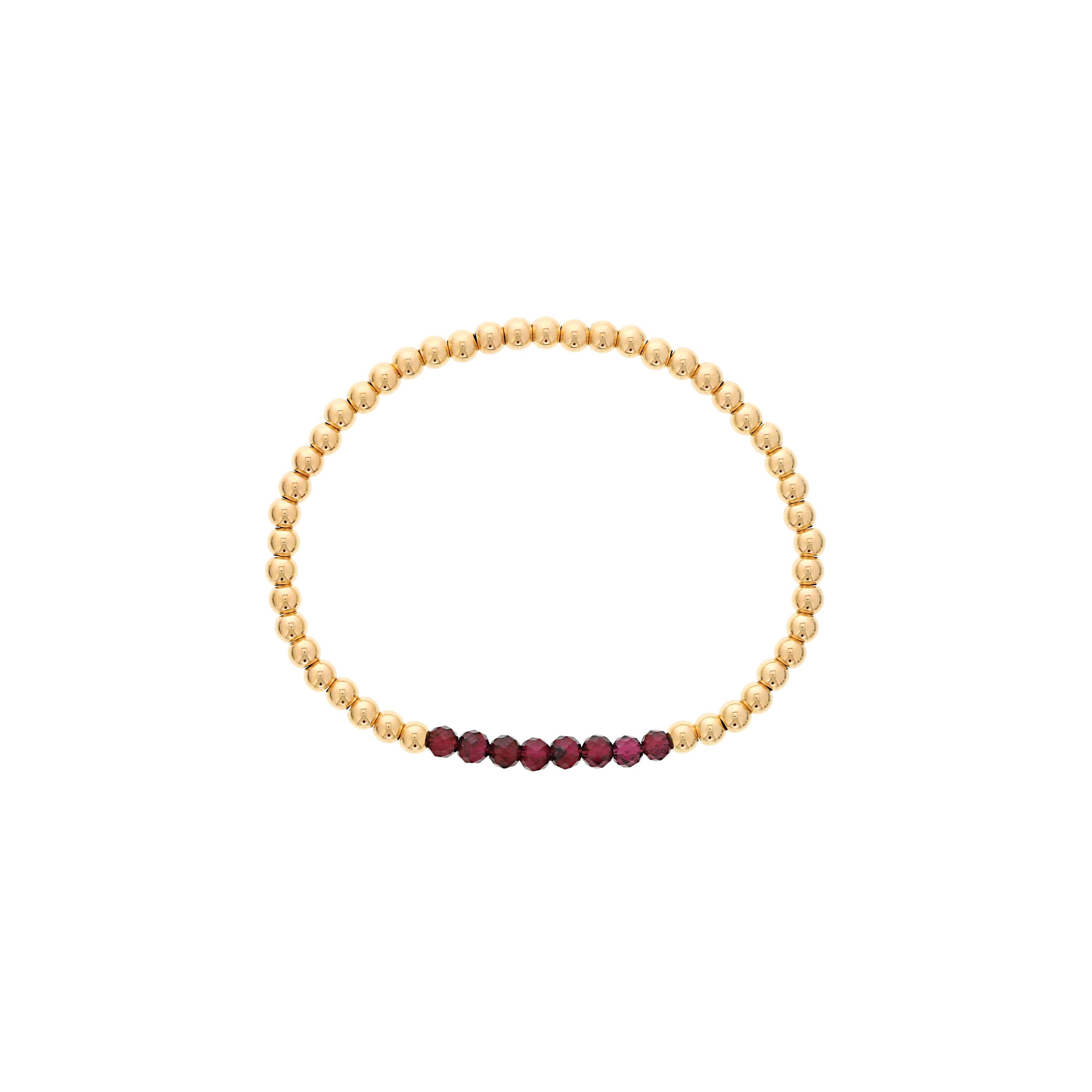 Garnet Birthstone Beaded Bracelet Gold Filled
