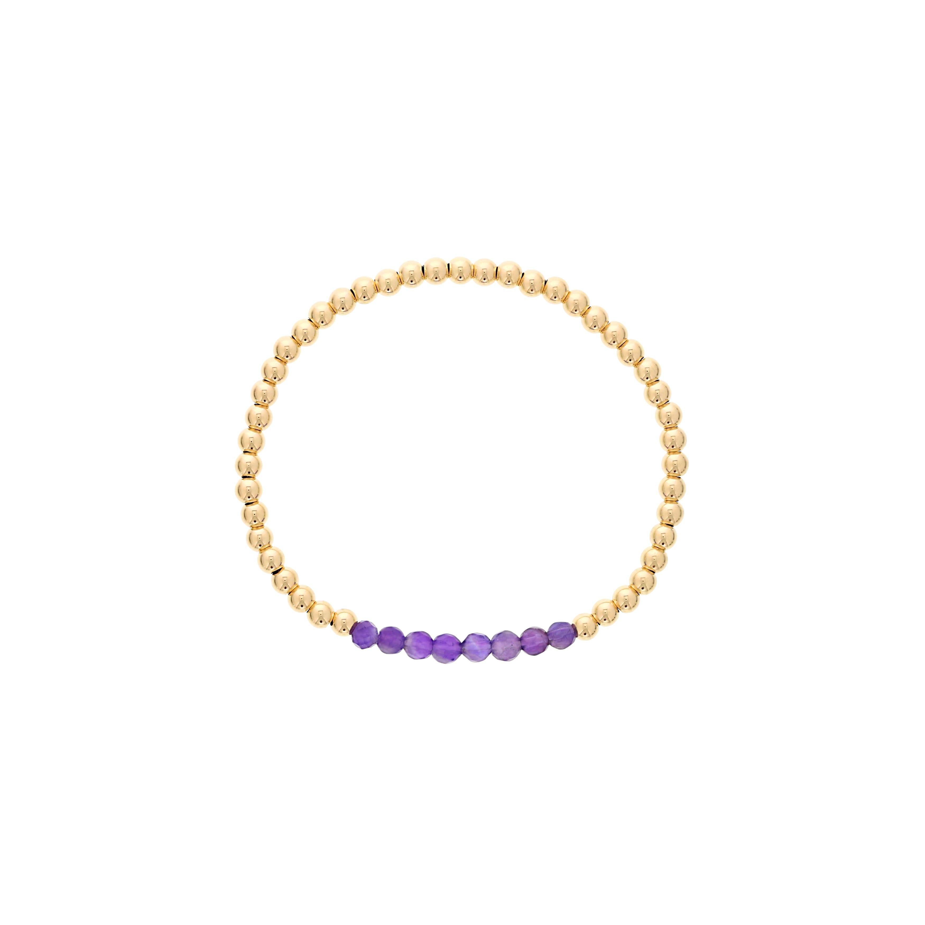 Amethyst Birthstone Beaded Bracelet Gold Filled