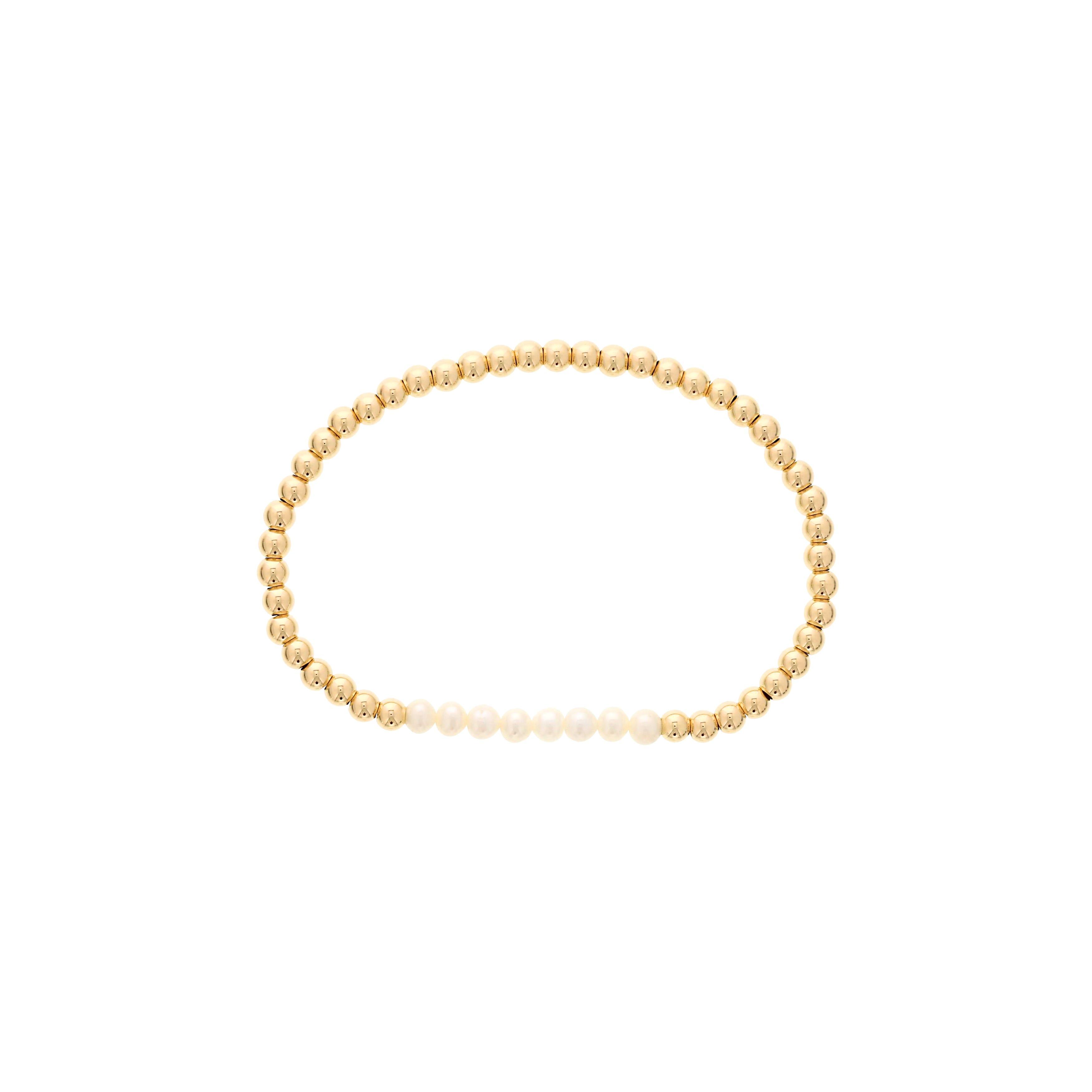 Pearl Birthstone Beaded Bracelet Gold Filled