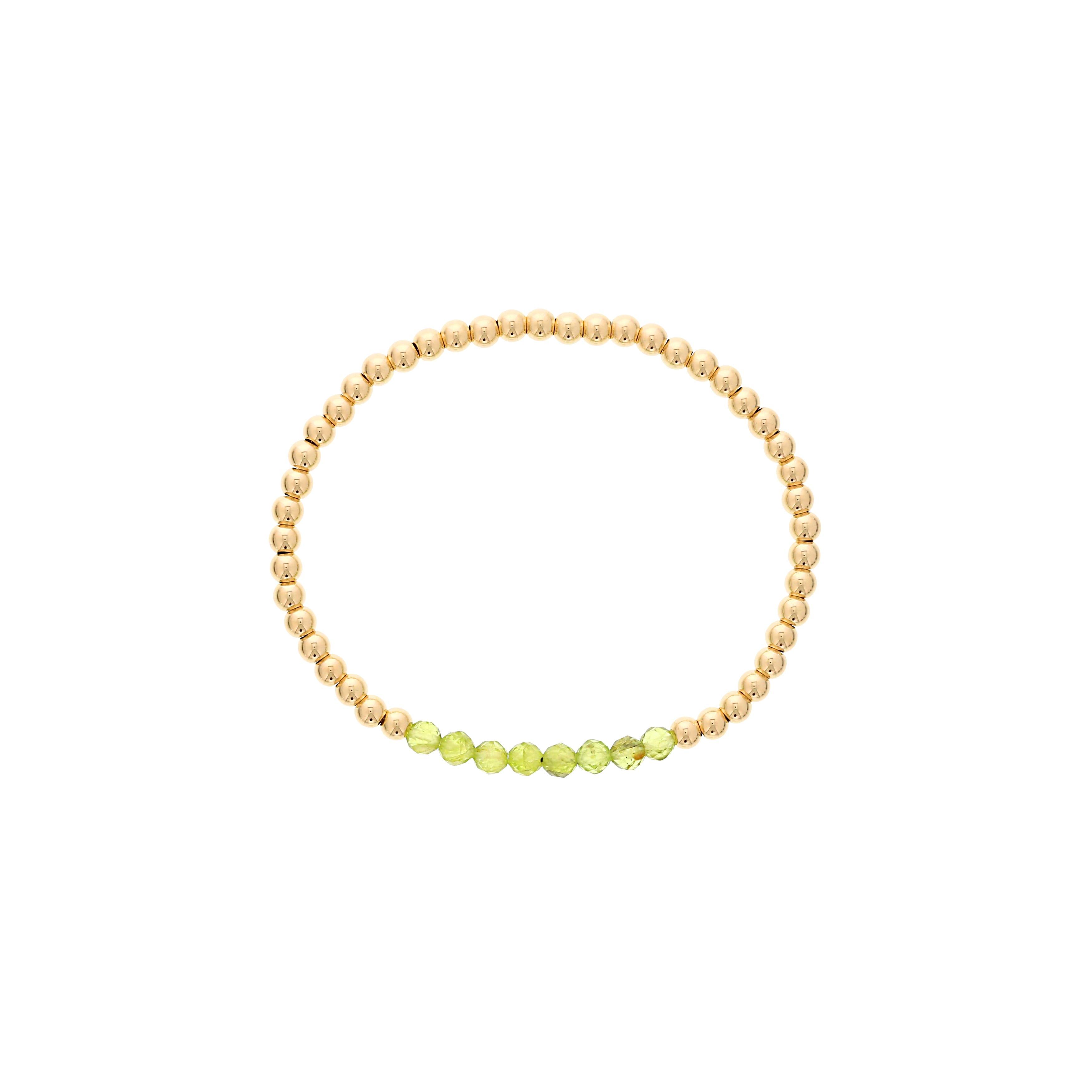 Peridot Birthstone Beaded Bracelet Gold Filled