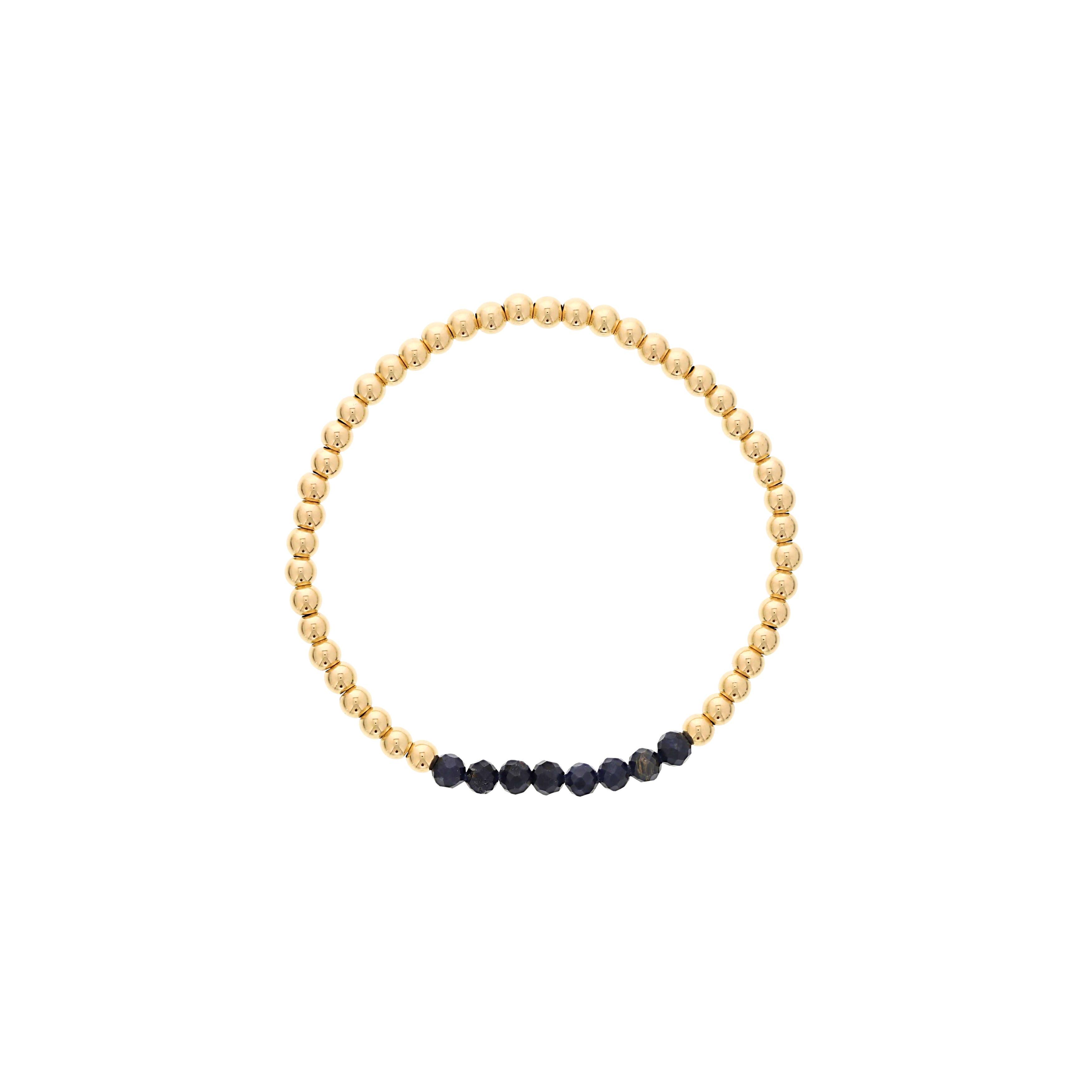 Blue Sapphire Birthstone Beaded Bracelet Gold Filled