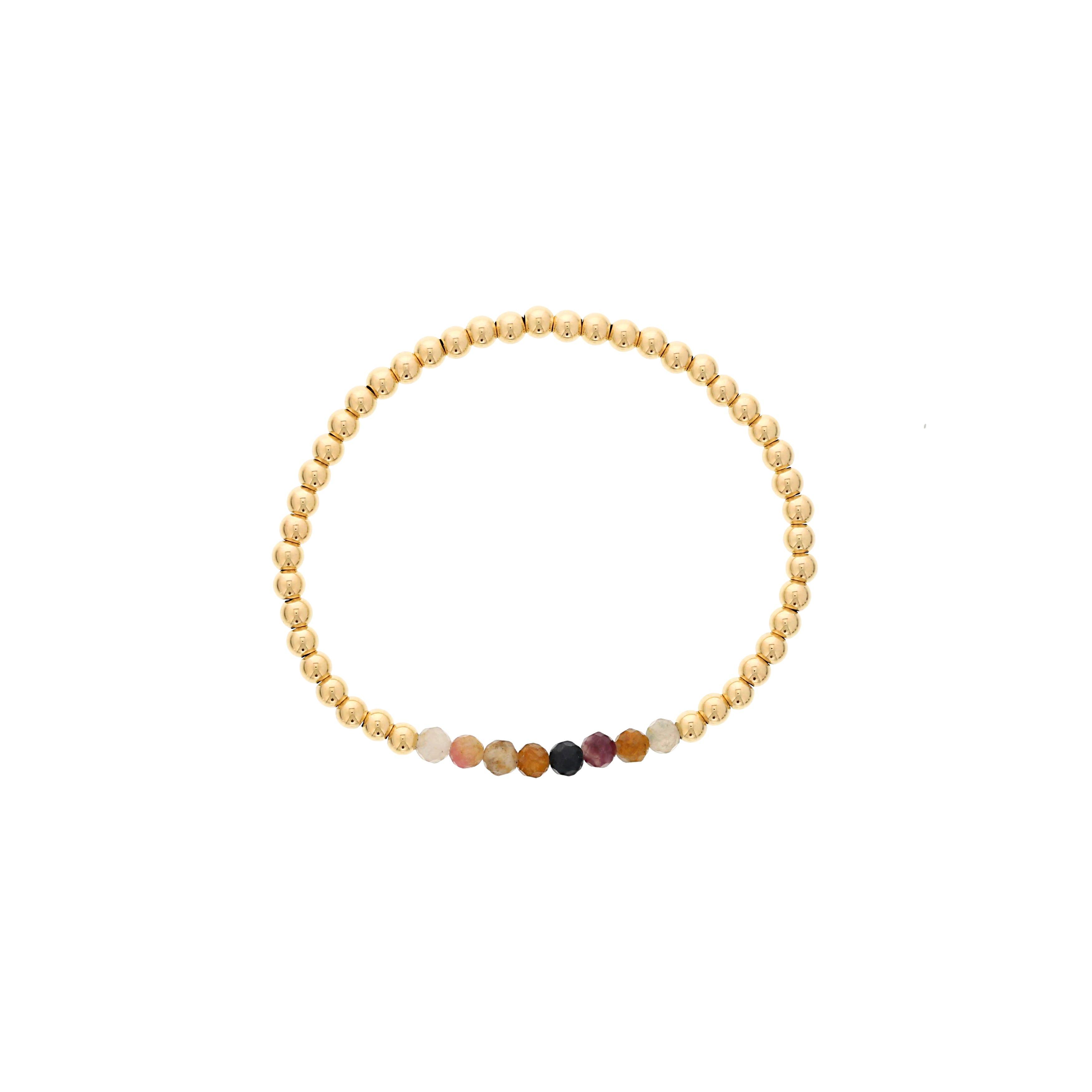 Multi-Color Tourmaline Birthstone Beaded Bracelet Gold Filled