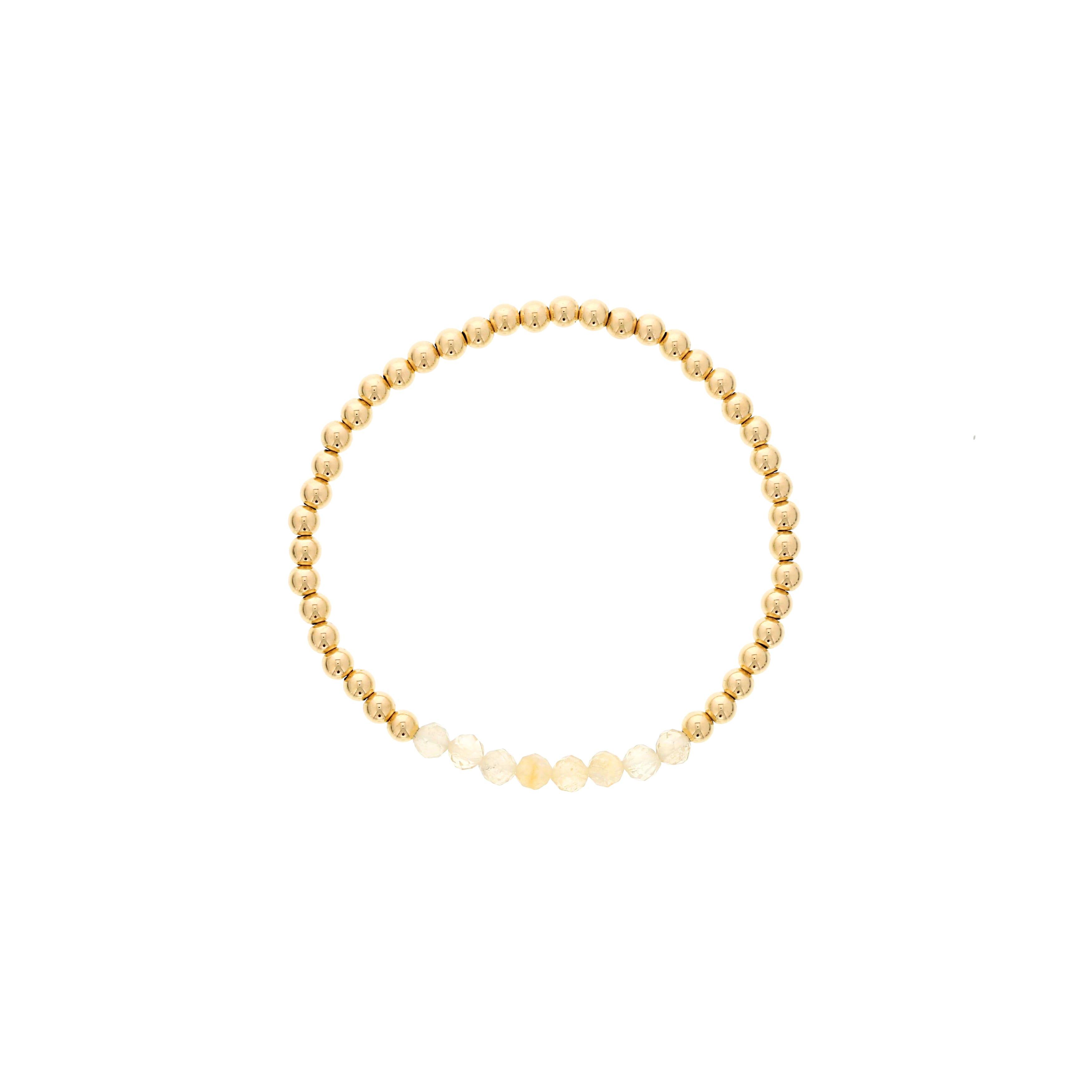 Citrine Birthstone Beaded Bracelet Gold Filled