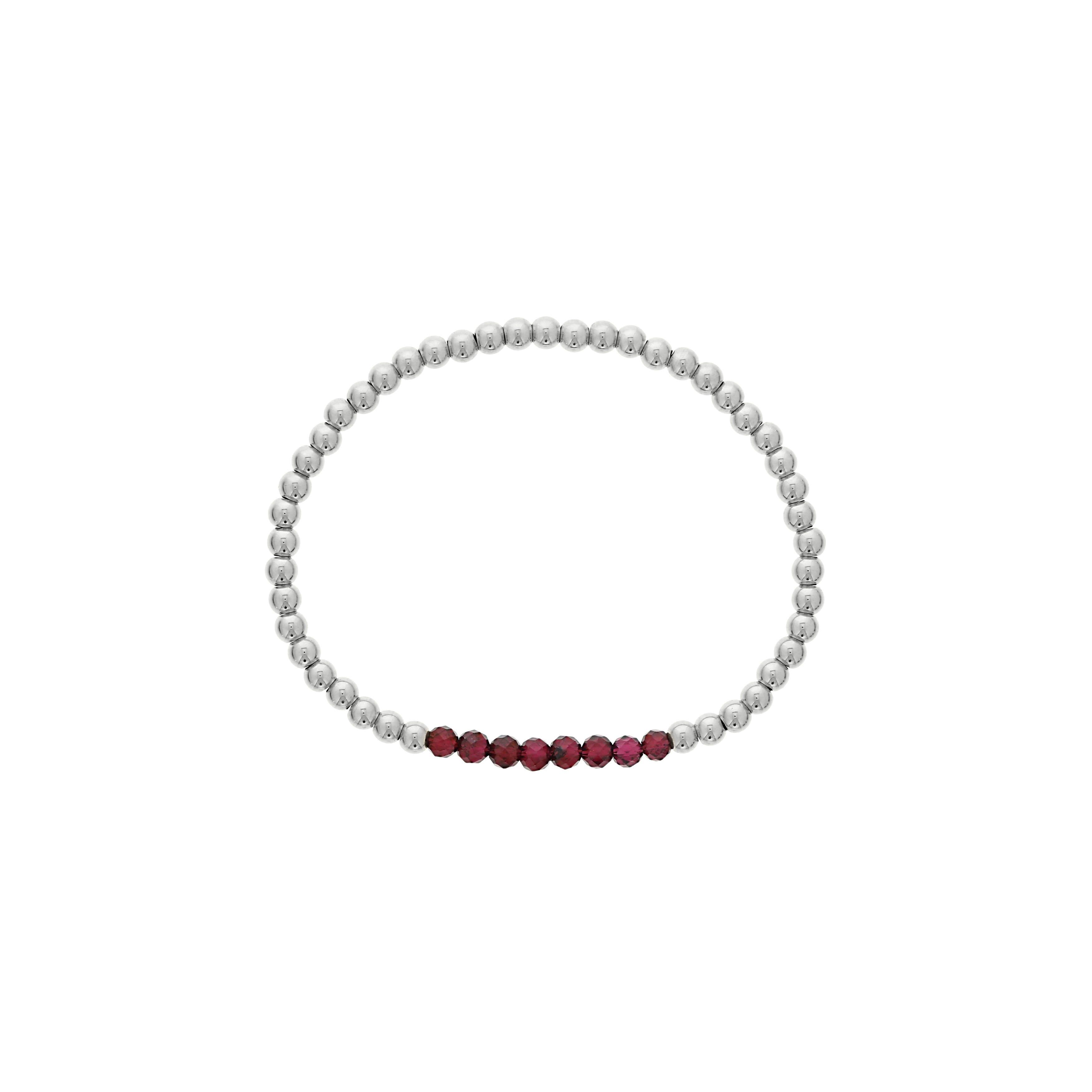 Garnet Birthstone Beaded Bracelet in Sterling Silver