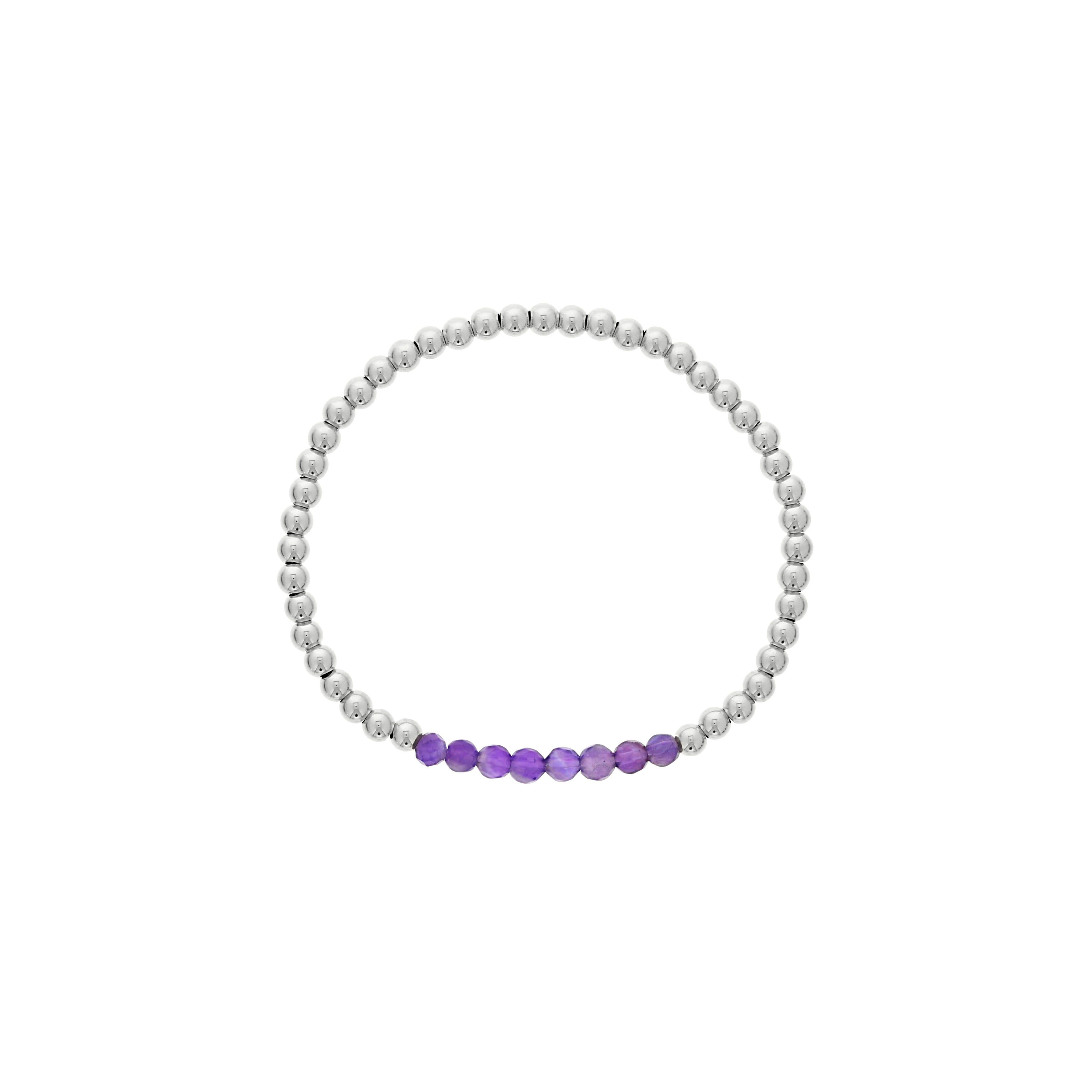 Amethyst Birthstone Beaded Bracelet in Sterling Silver