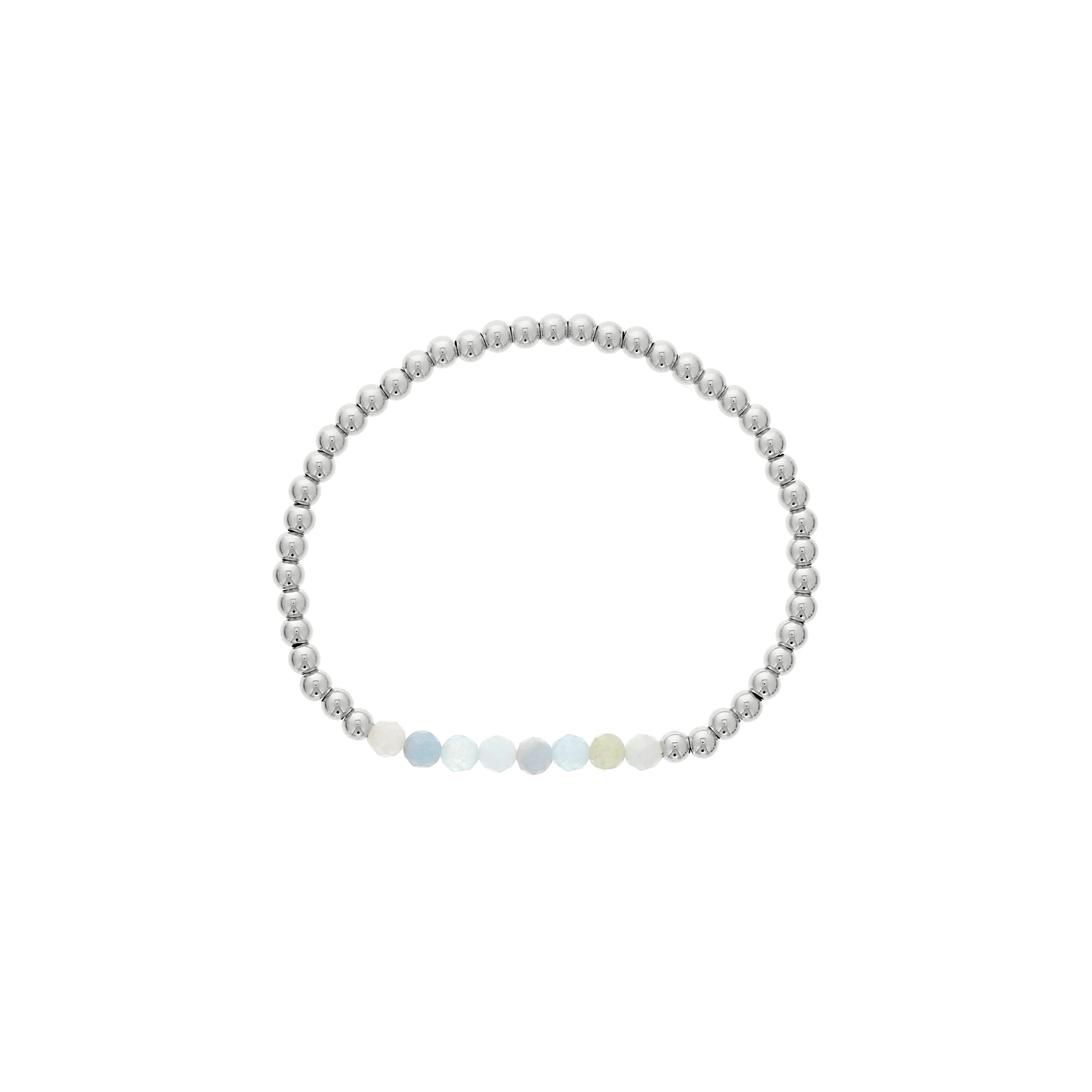 Aquamarine Birthstone Beaded Bracelet in Sterling Silver