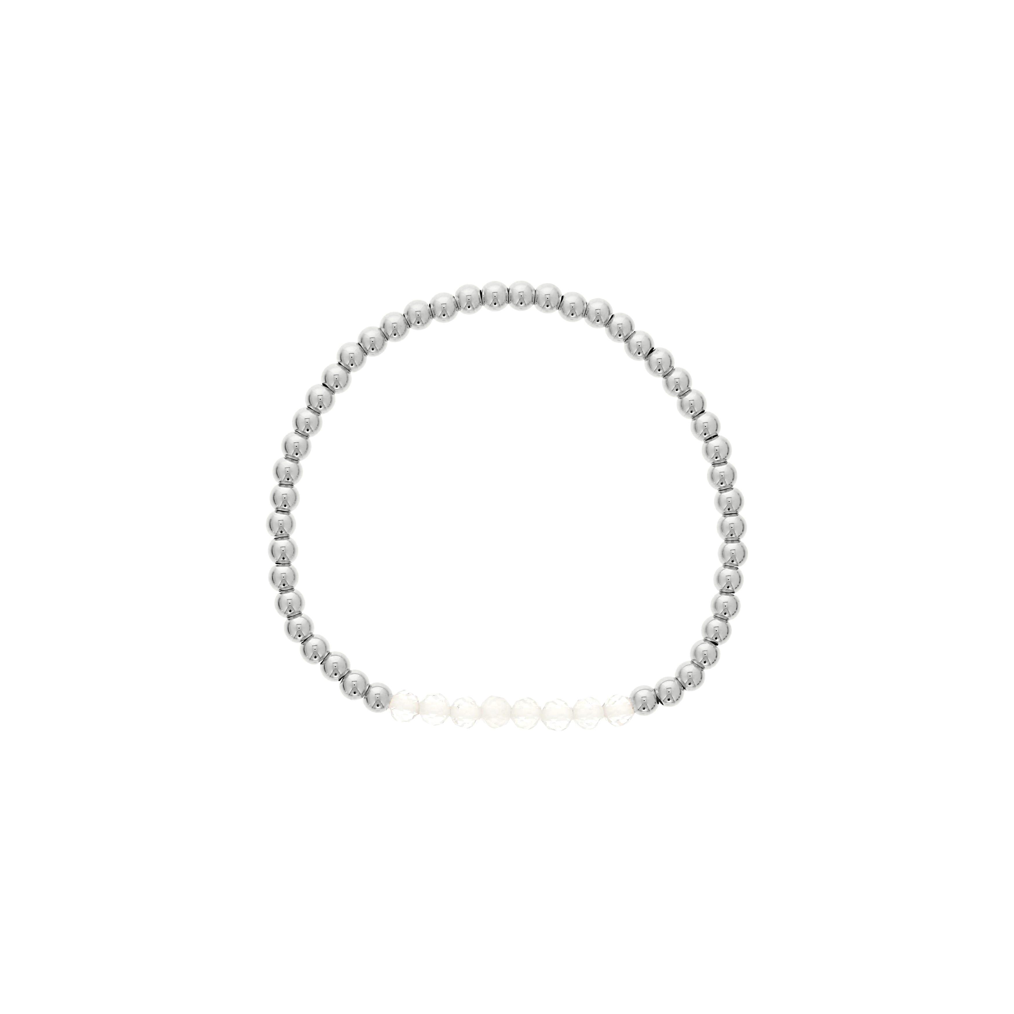 Clear Quartz Birthstone Beaded Bracelet in Sterling Silver