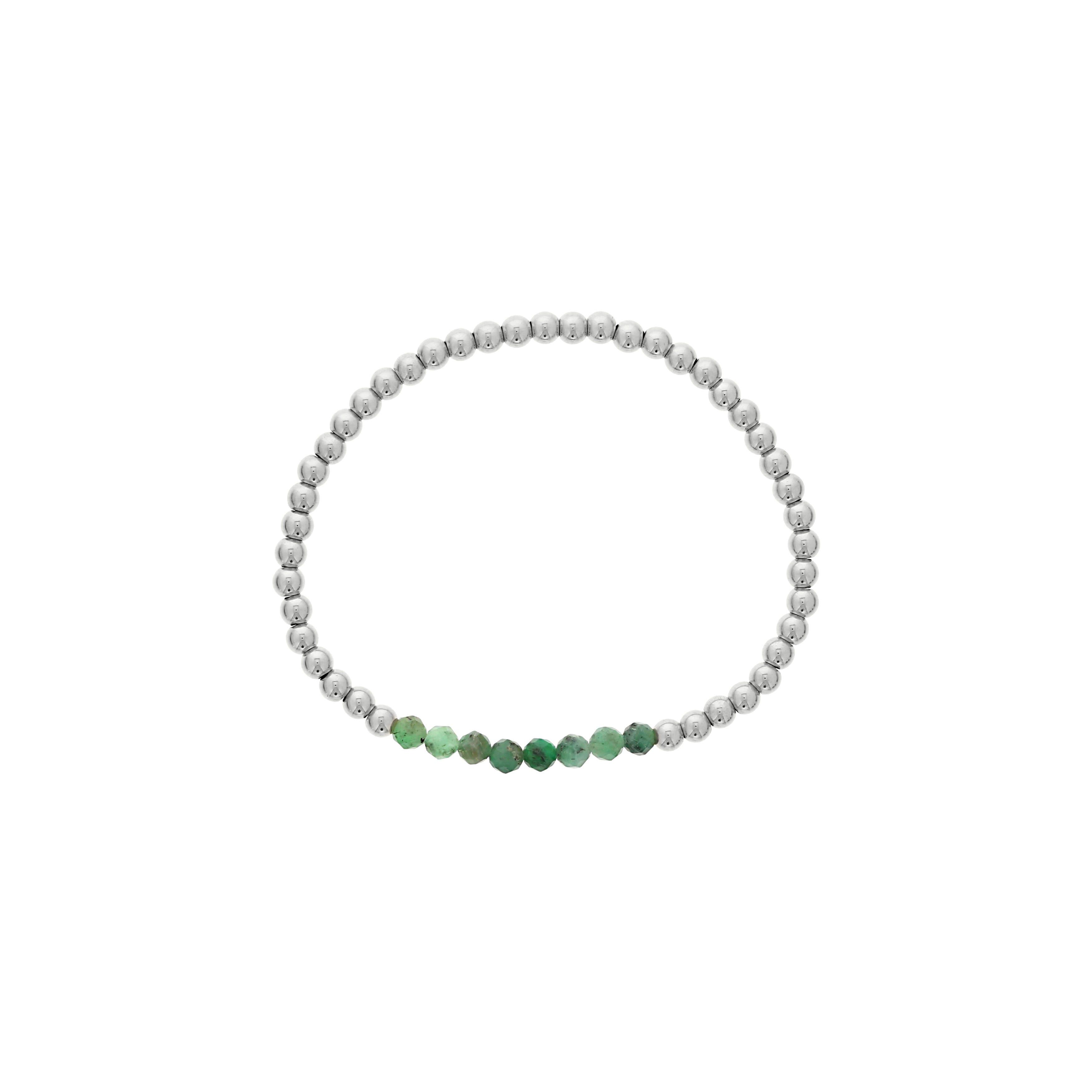Emerald Birthstone Beaded Bracelet in Sterling Silver