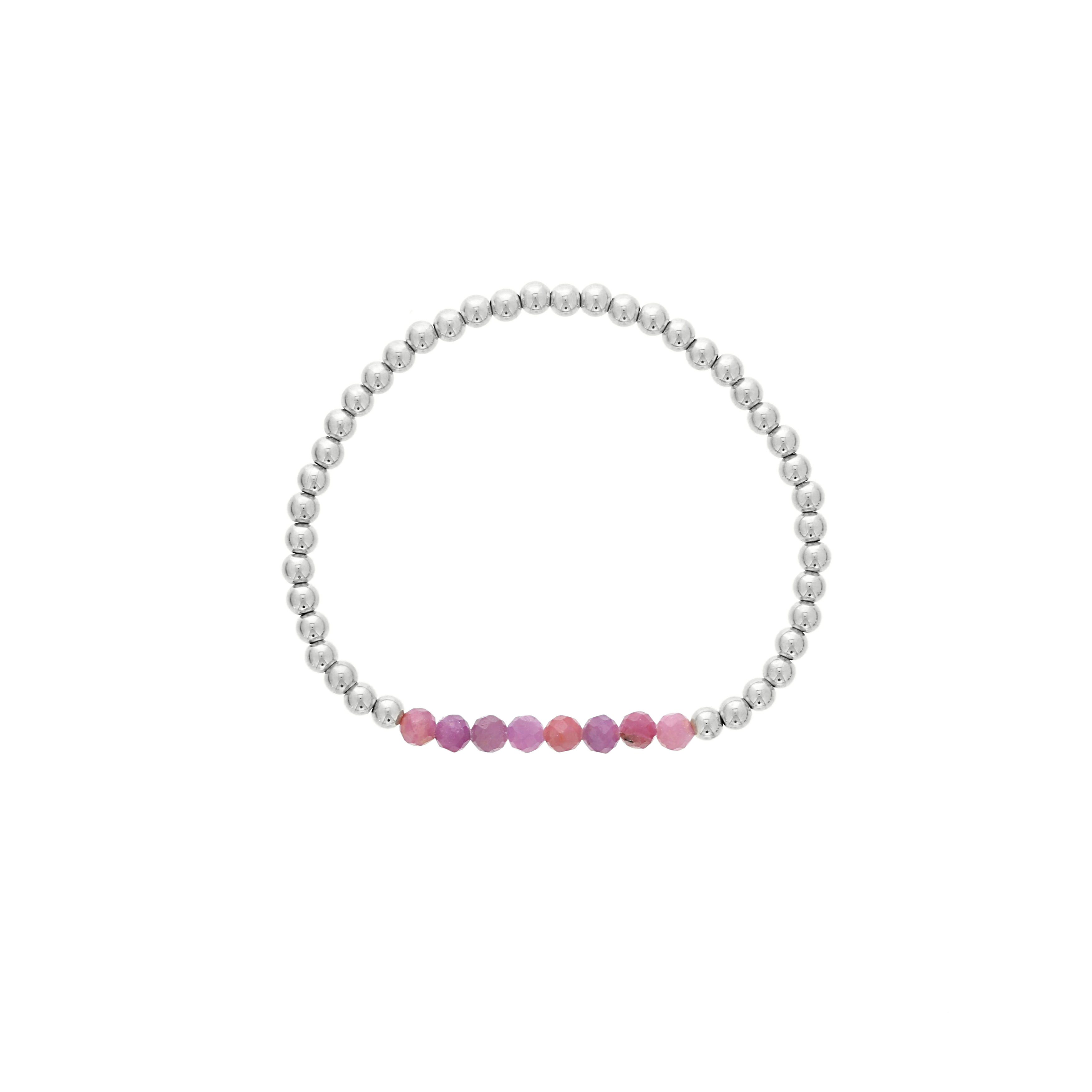 Ruby Birthstone Beaded Bracelet in Sterling Silver