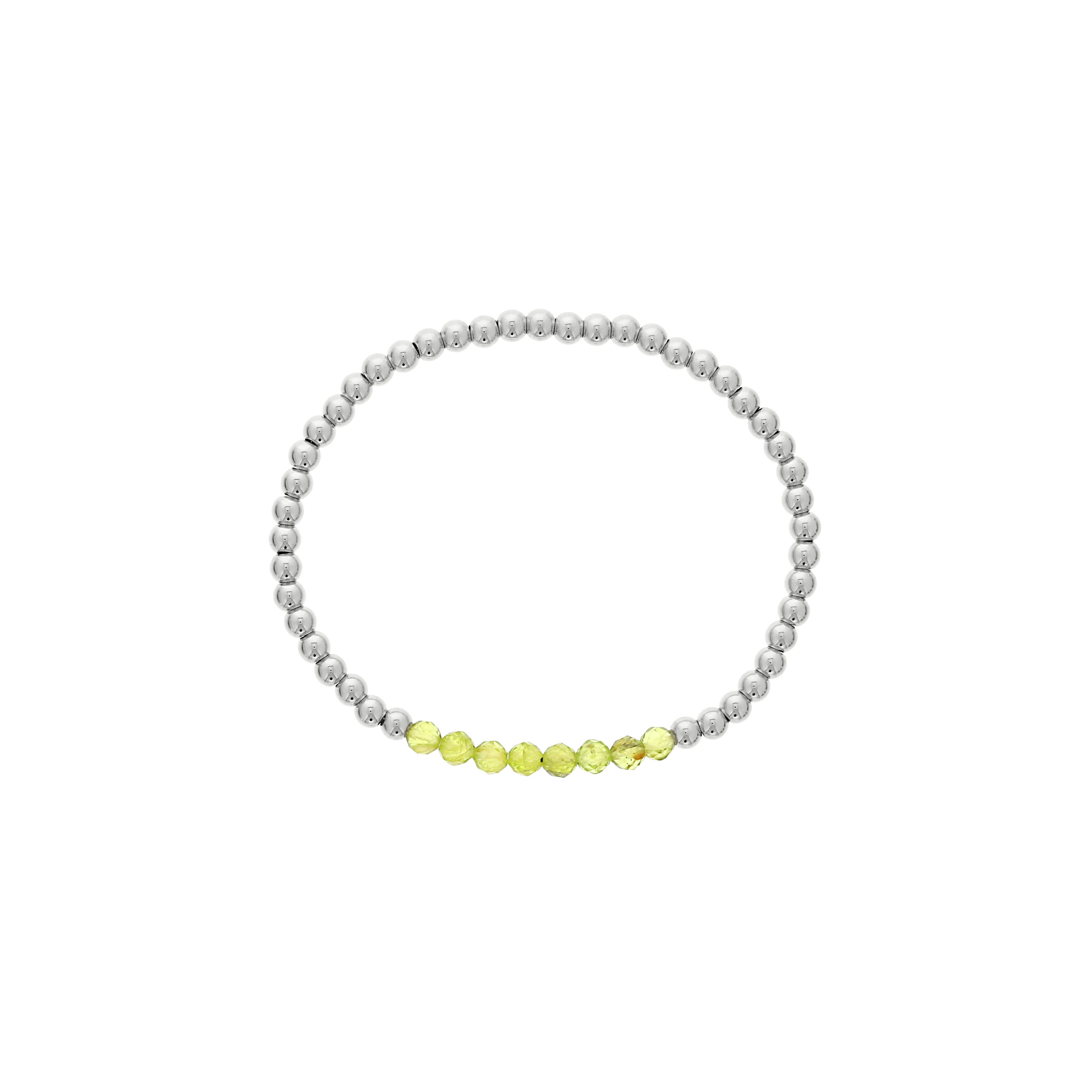 Peridot Birthstone Beaded Bracelet in Sterling Silver