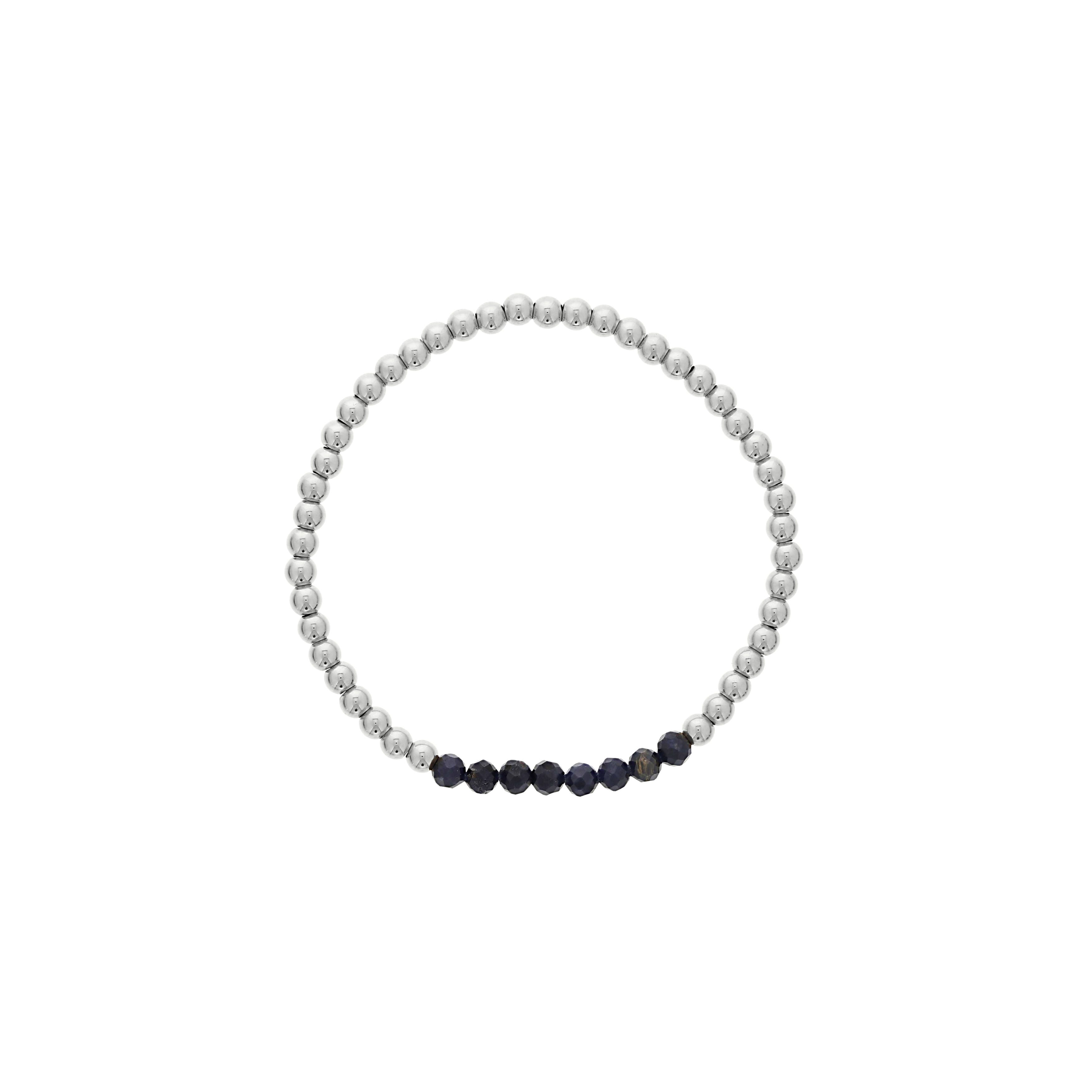Blue Sapphire Birthstone Beaded Bracelet in Sterling Silver