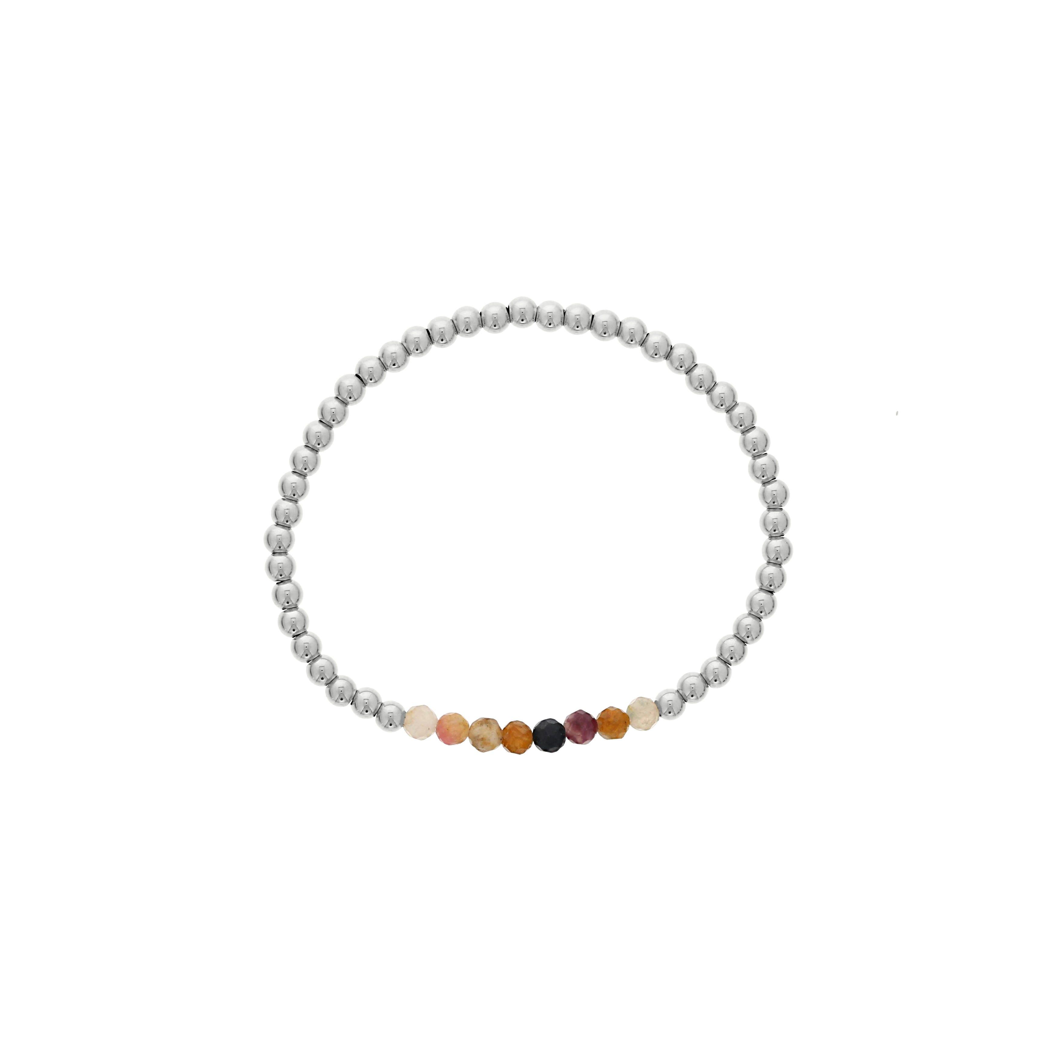 Multi-Color Tourmaline Birthstone Beaded Bracelet in Sterling Silver