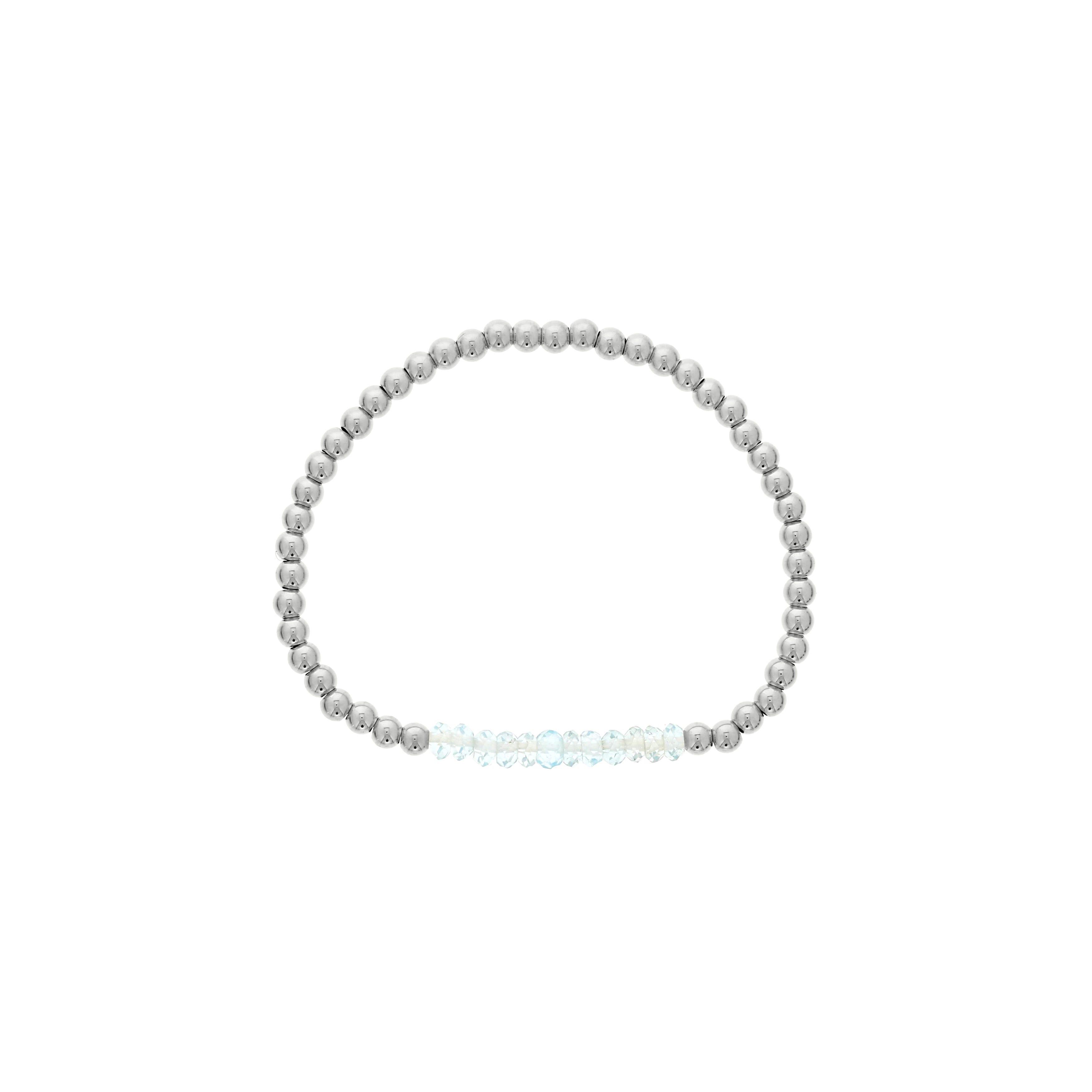 Blue Topaz Birthstone Beaded Bracelet in Sterling Silver