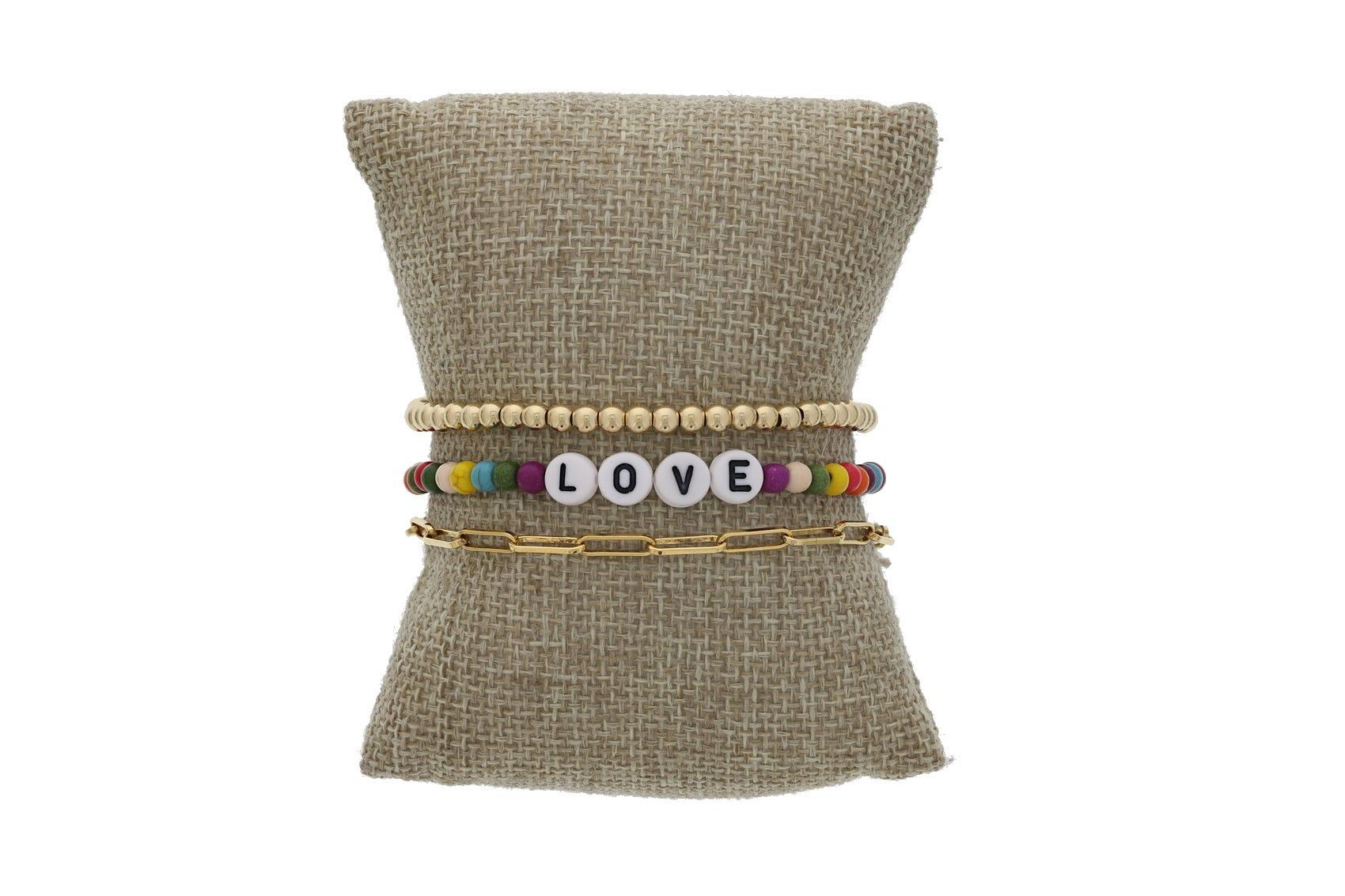 Message Beaded Bracelet Set Gold Filled
