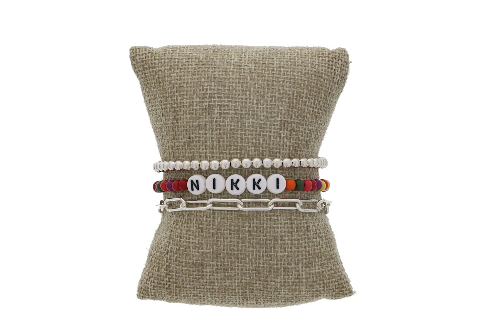 Message Beaded Bracelet Set in Sterling Silver