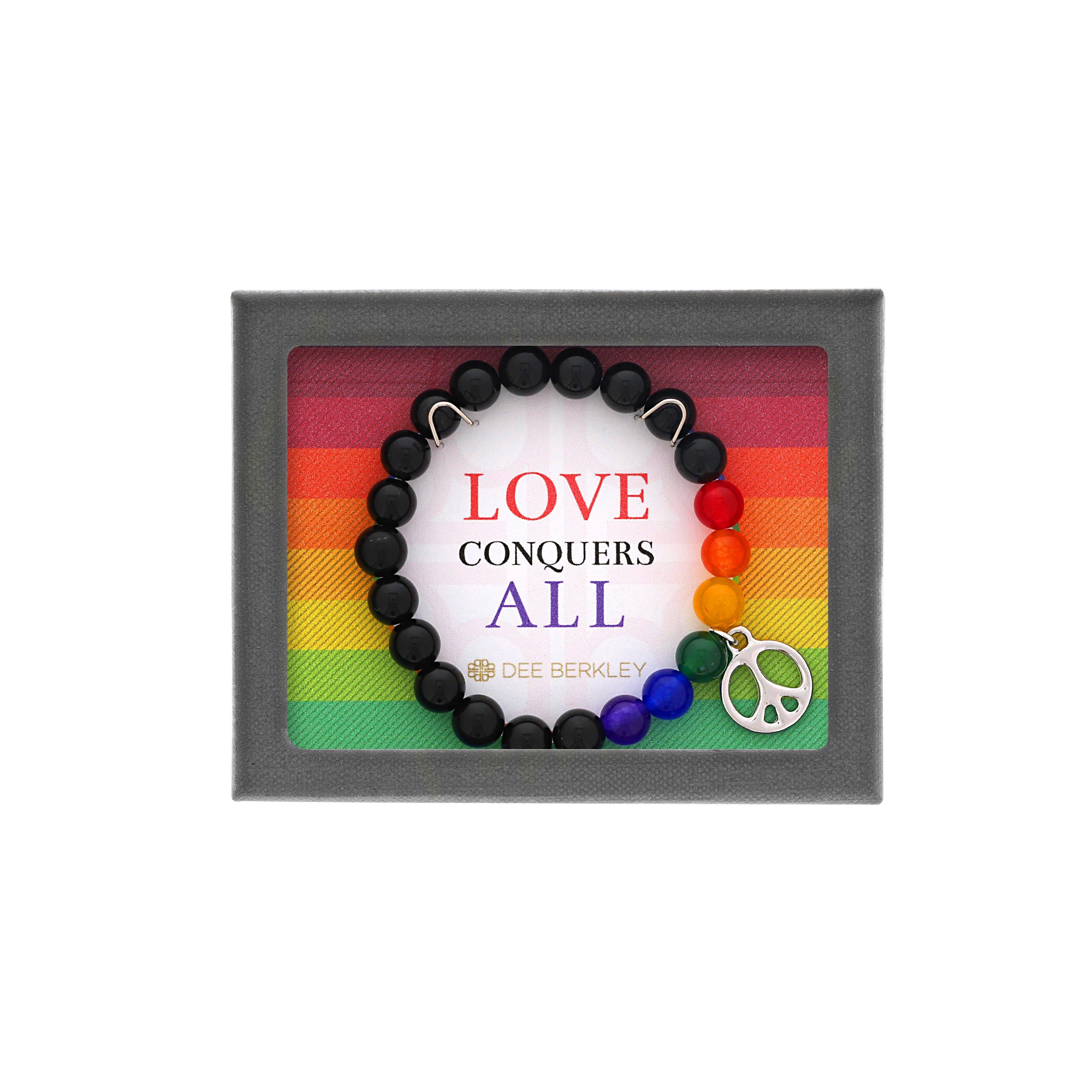 Black Agate & Rainbow Quartz Peace Sign Bracelet