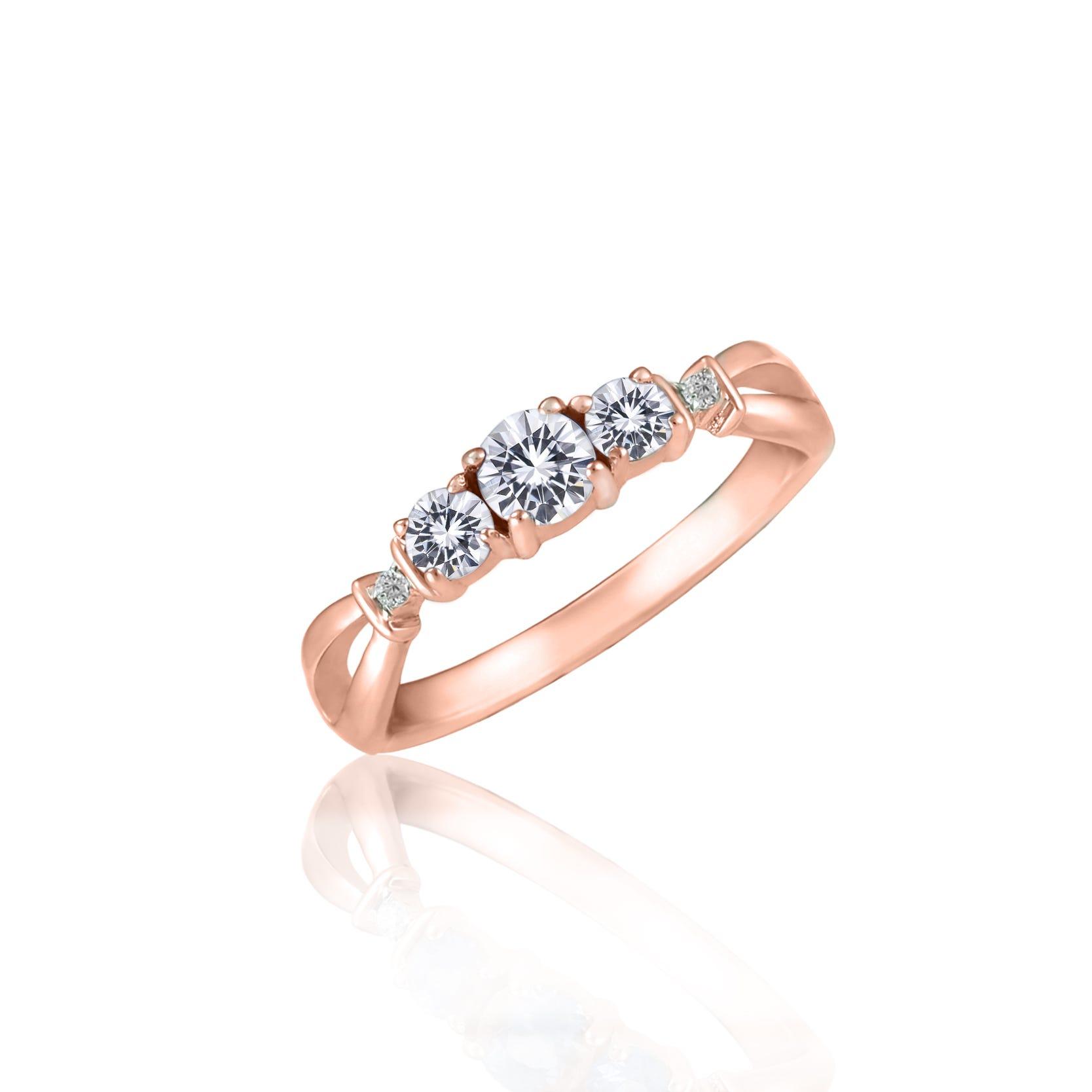 Created White Sapphire & Diamond 3-Stone Ring in 10k Rose Gold