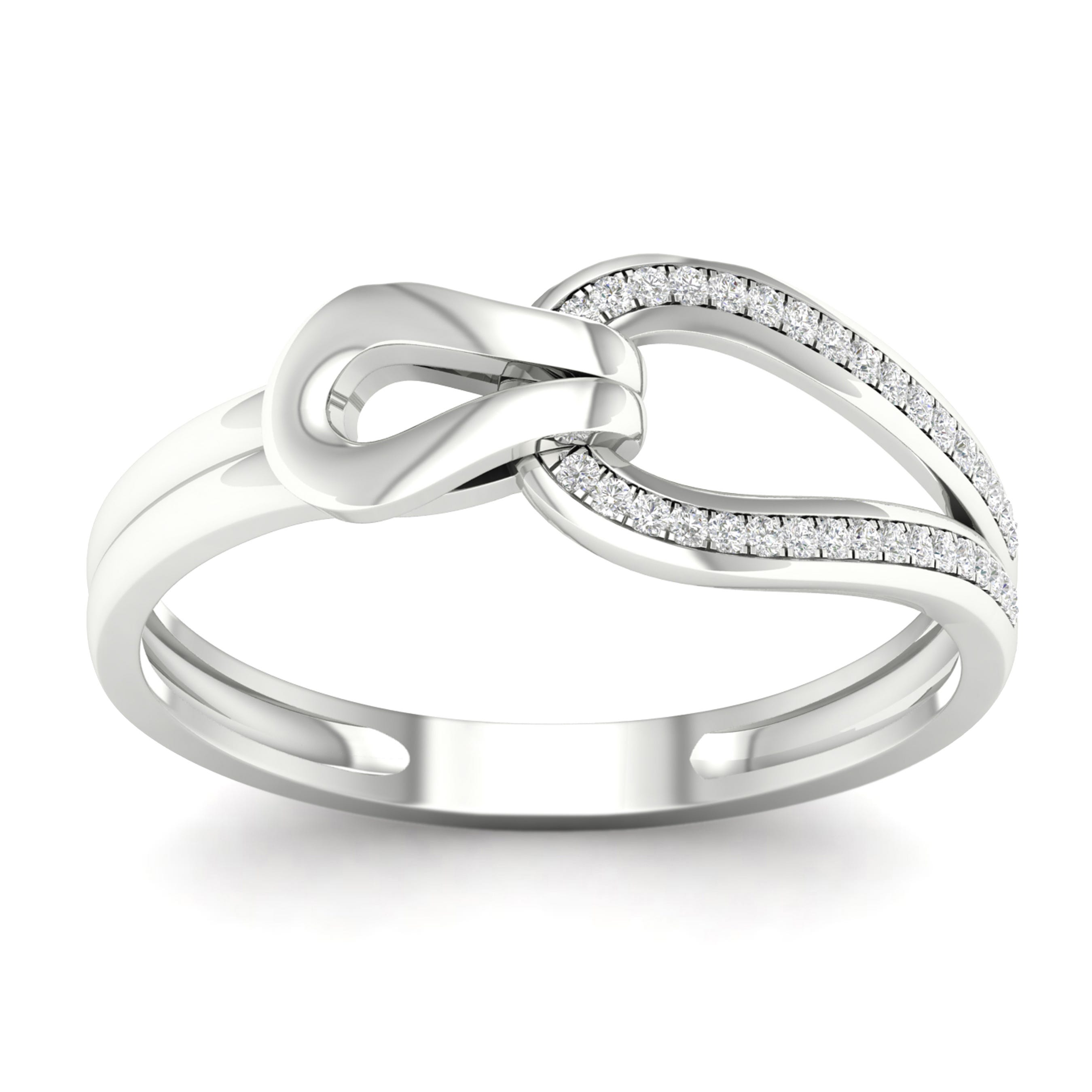 Diamond 1/10ctw. Love Knot Promise Ring in 10k White Gold