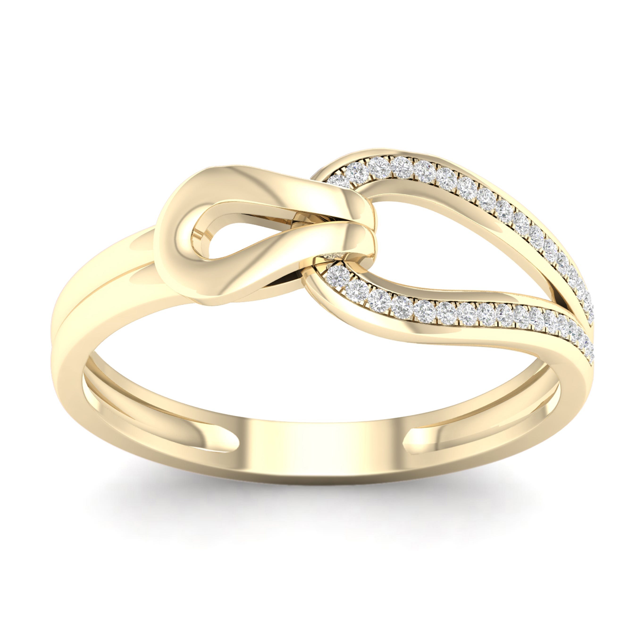 Diamond 1/10ctw. Love Knot Promise Ring in 10k Yellow Gold