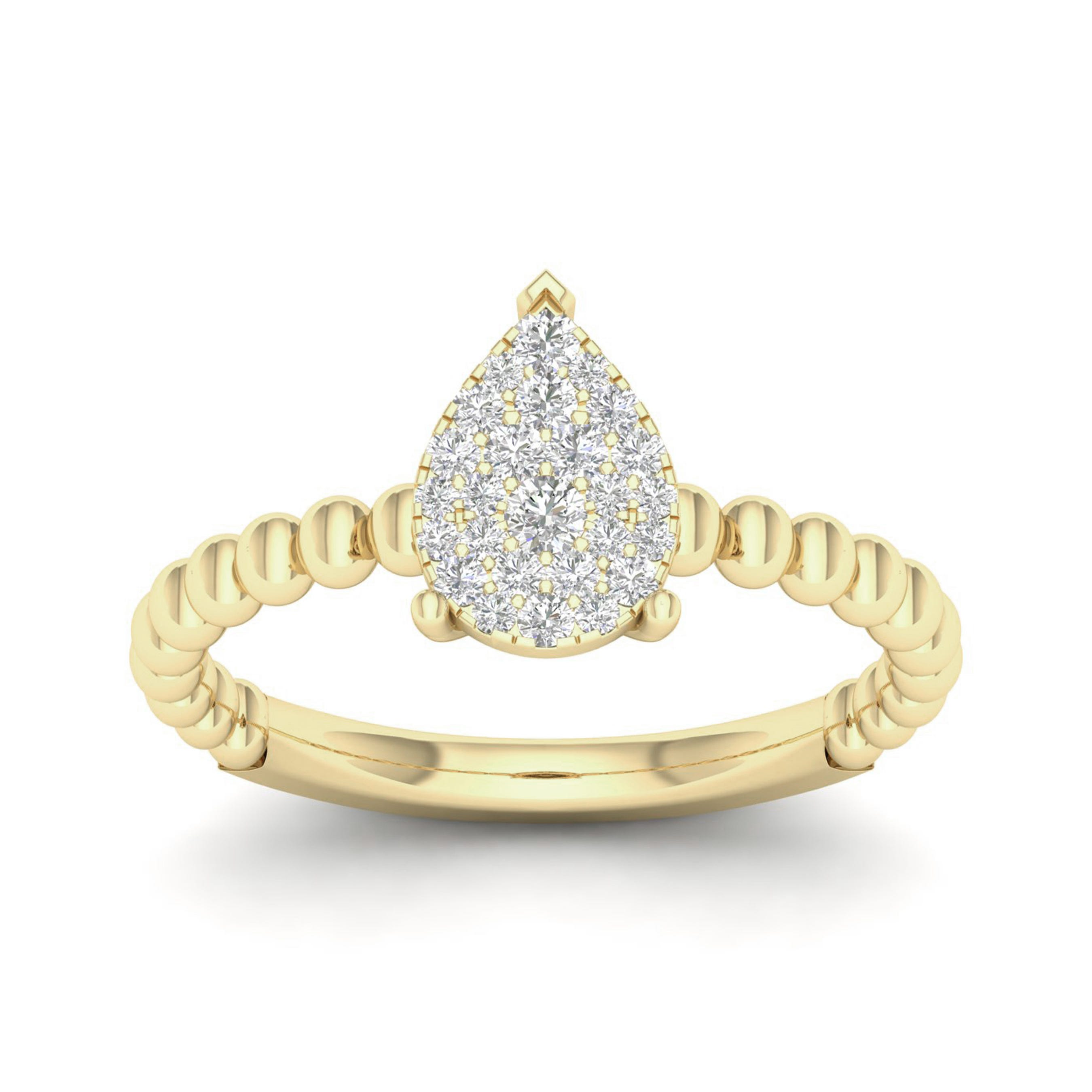 Diamond 1/5ctw. Pear Shape Cluster Ring in 10k Yellow Gold