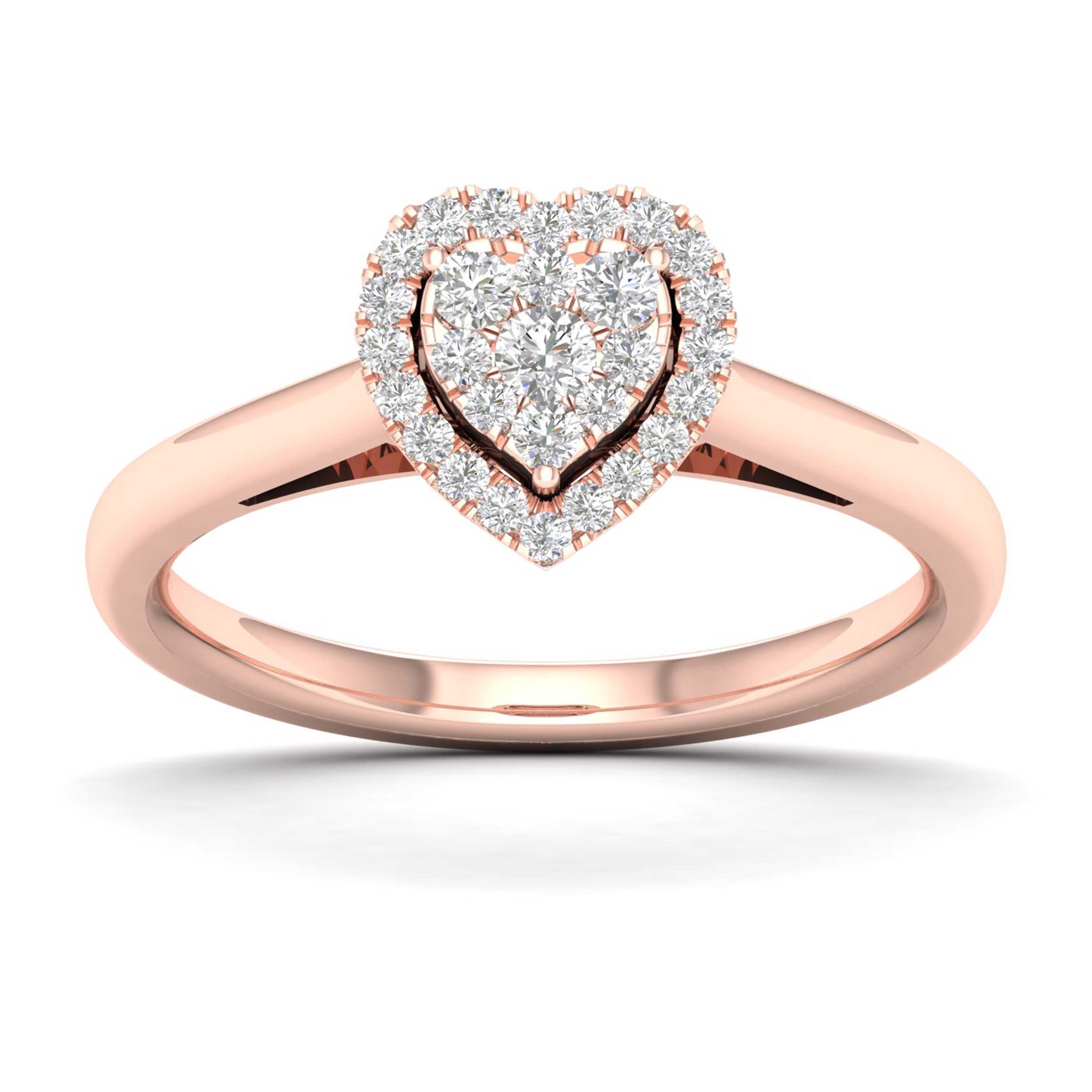 Diamond 1/4ctw. Heart Shape Cluster Promise Ring in 10k Rose Gold